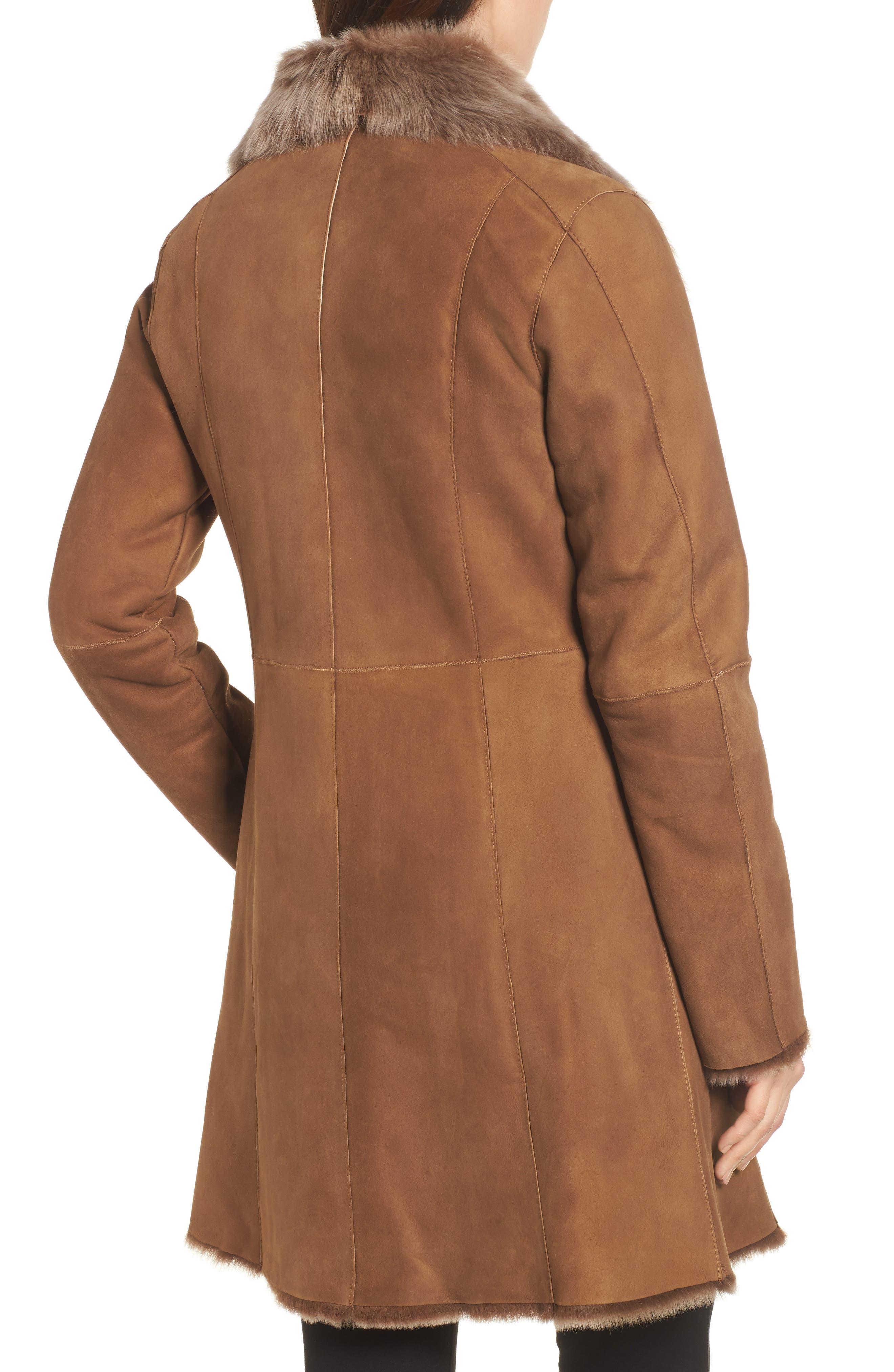 Genuine Toscana Shearling Coat,                             Alternate thumbnail 2, color,                             Tobacco
