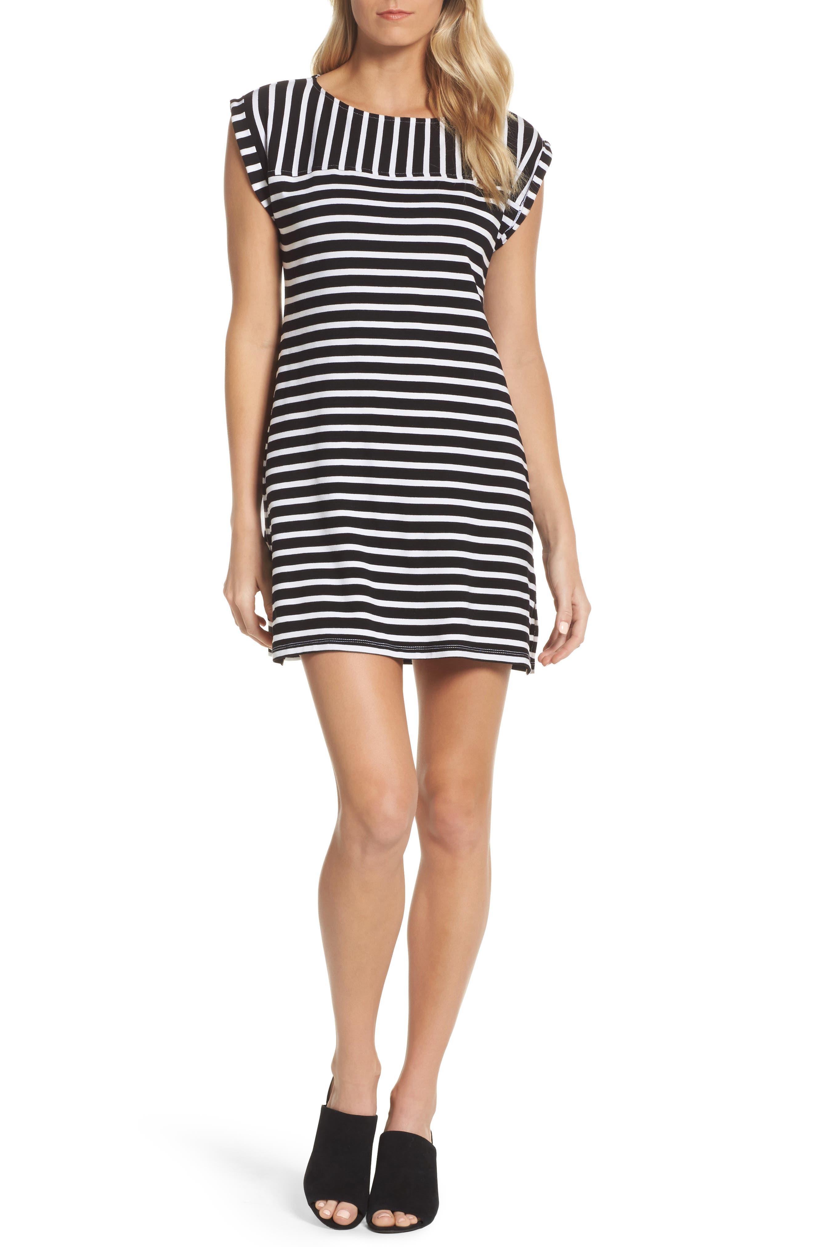 Breton Stripe Cover-Up Dress,                         Main,                         color, Black/ White