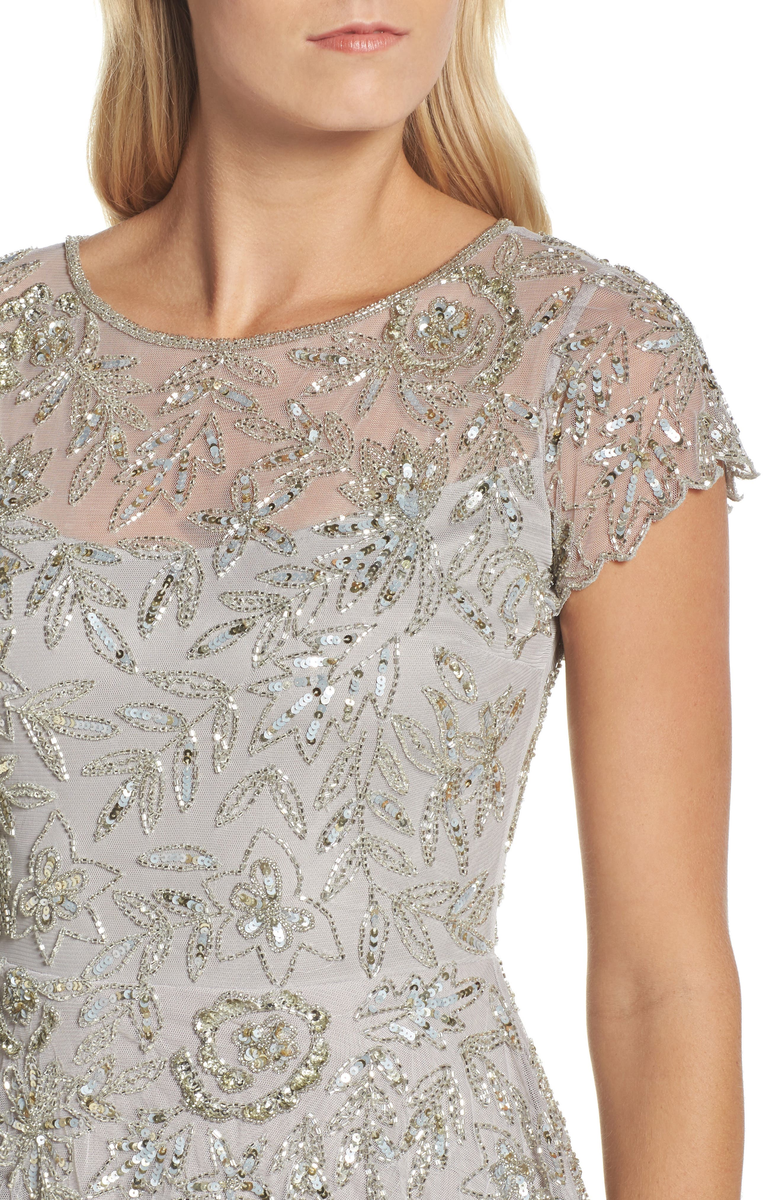 Beaded Mesh Mock Two-Piece Gown,                             Alternate thumbnail 4, color,                             Silver