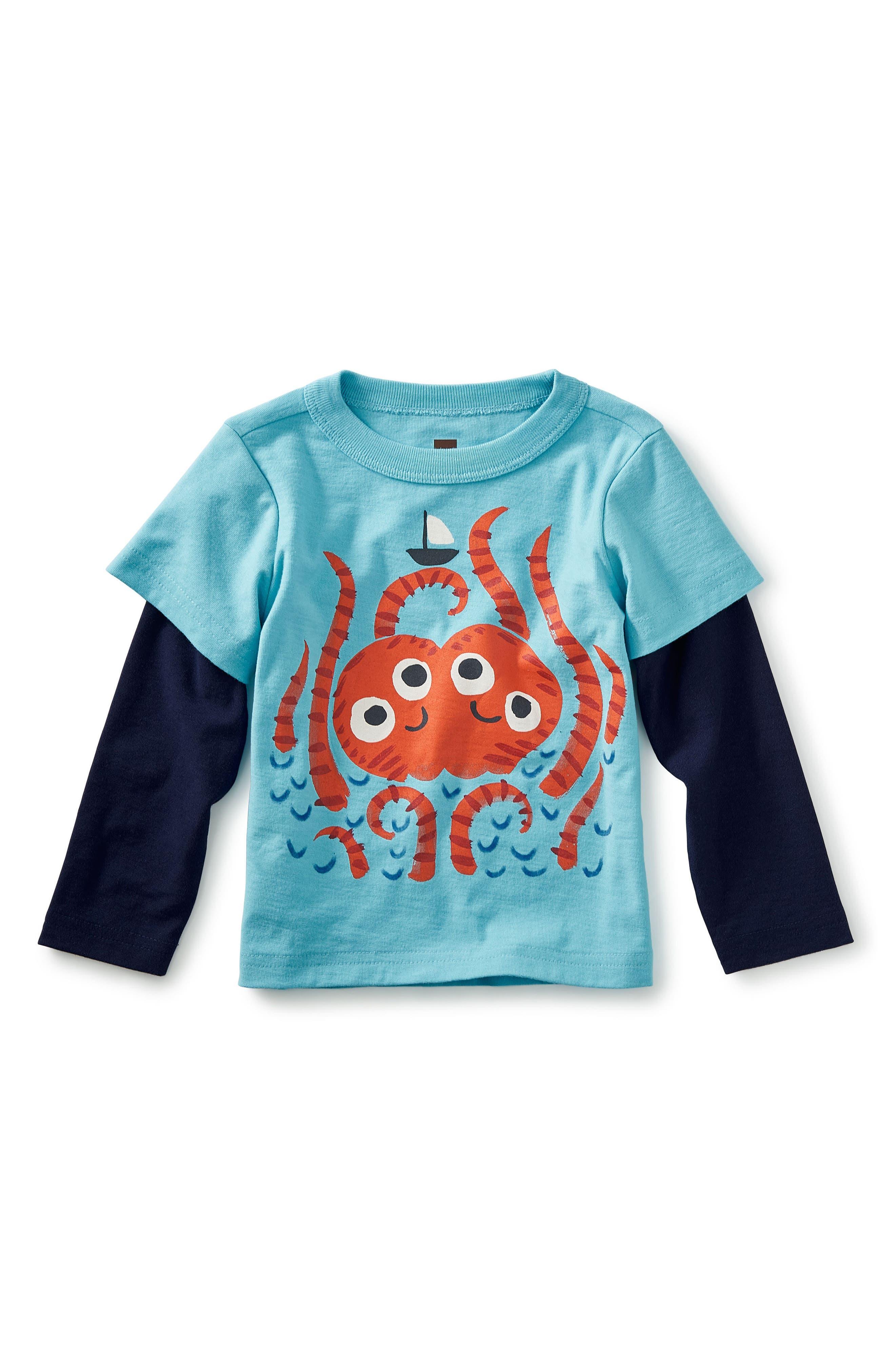 Sea Monster Graphic T-Shirt,                             Main thumbnail 1, color,                             Cyan