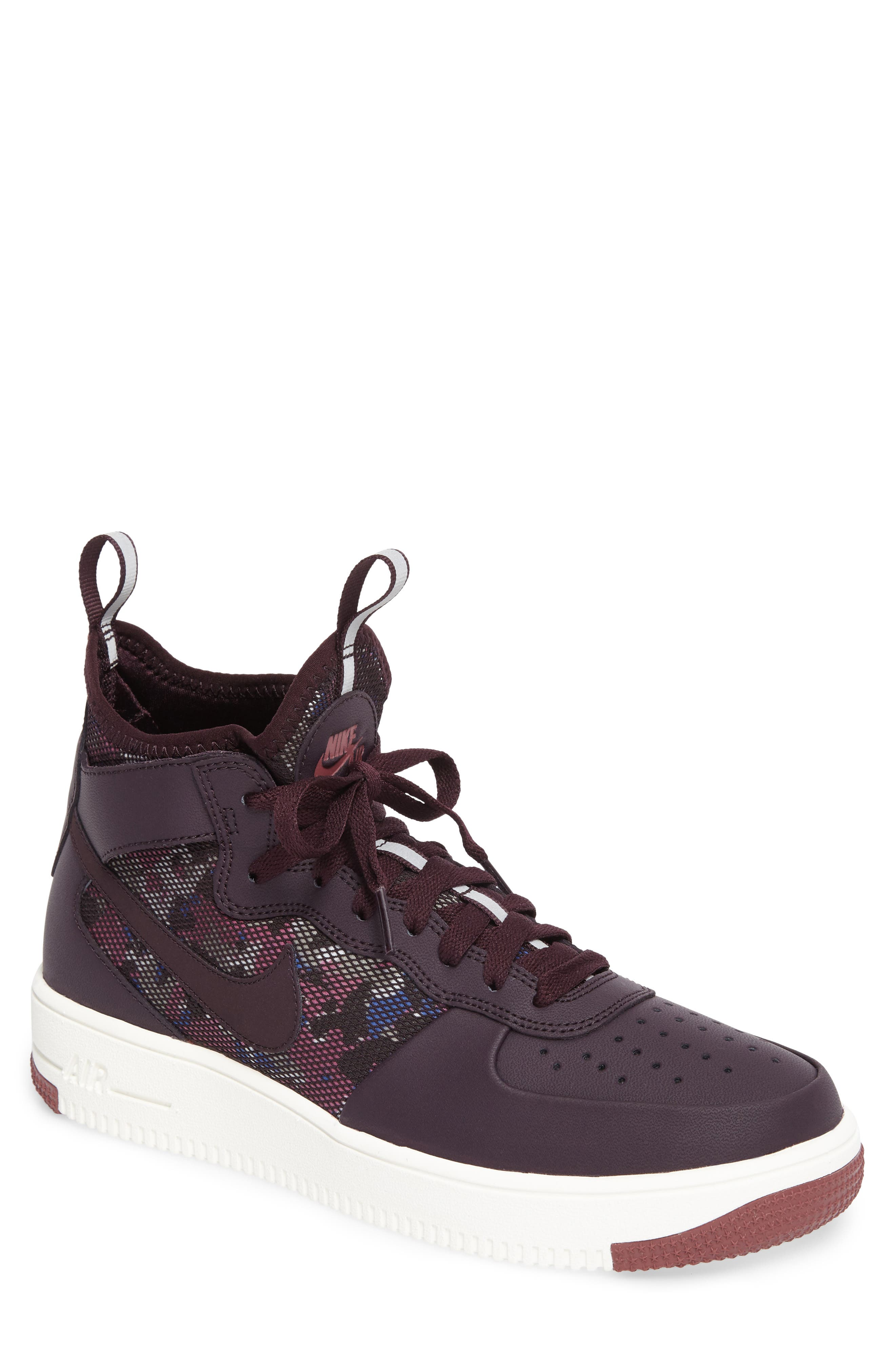 Air Force 1 Ultraforce Mid Sneaker,                         Main,                         color, Port Wine/ Summit White
