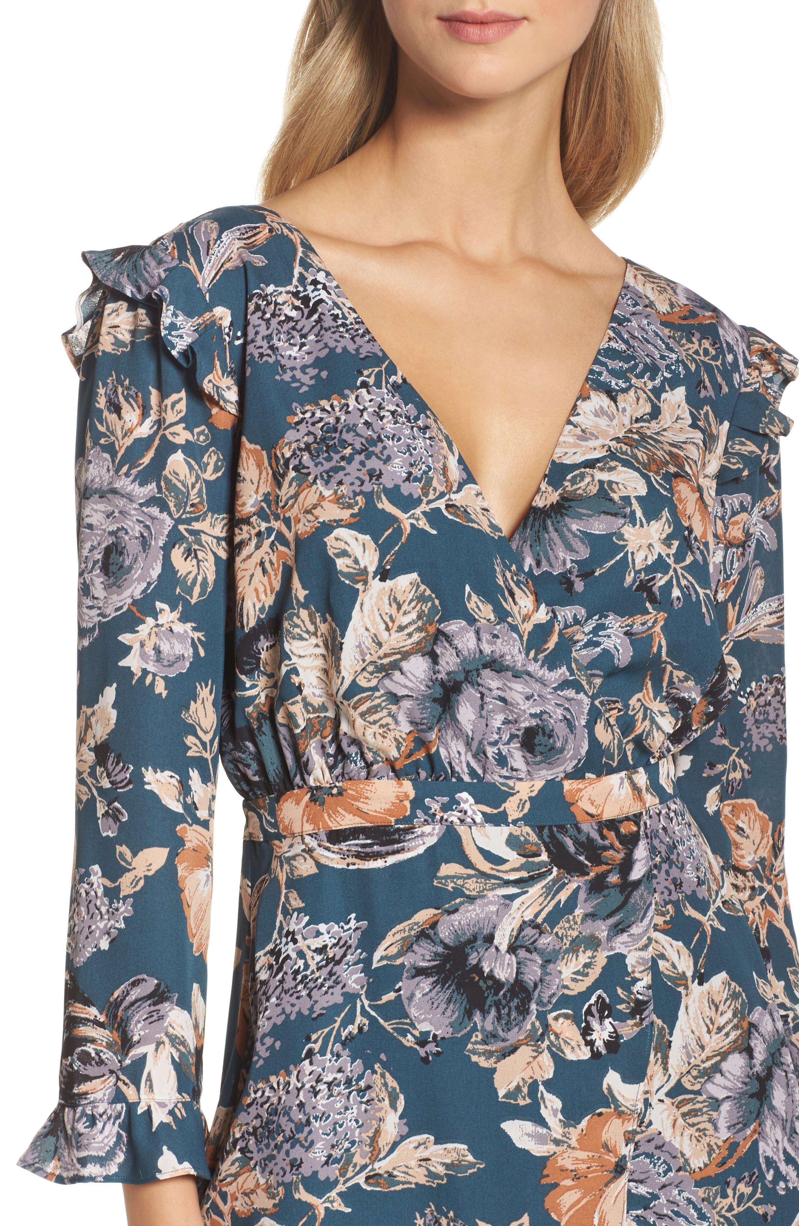 Je T'aime Midi Dress,                             Alternate thumbnail 5, color,                             Spruce Floral