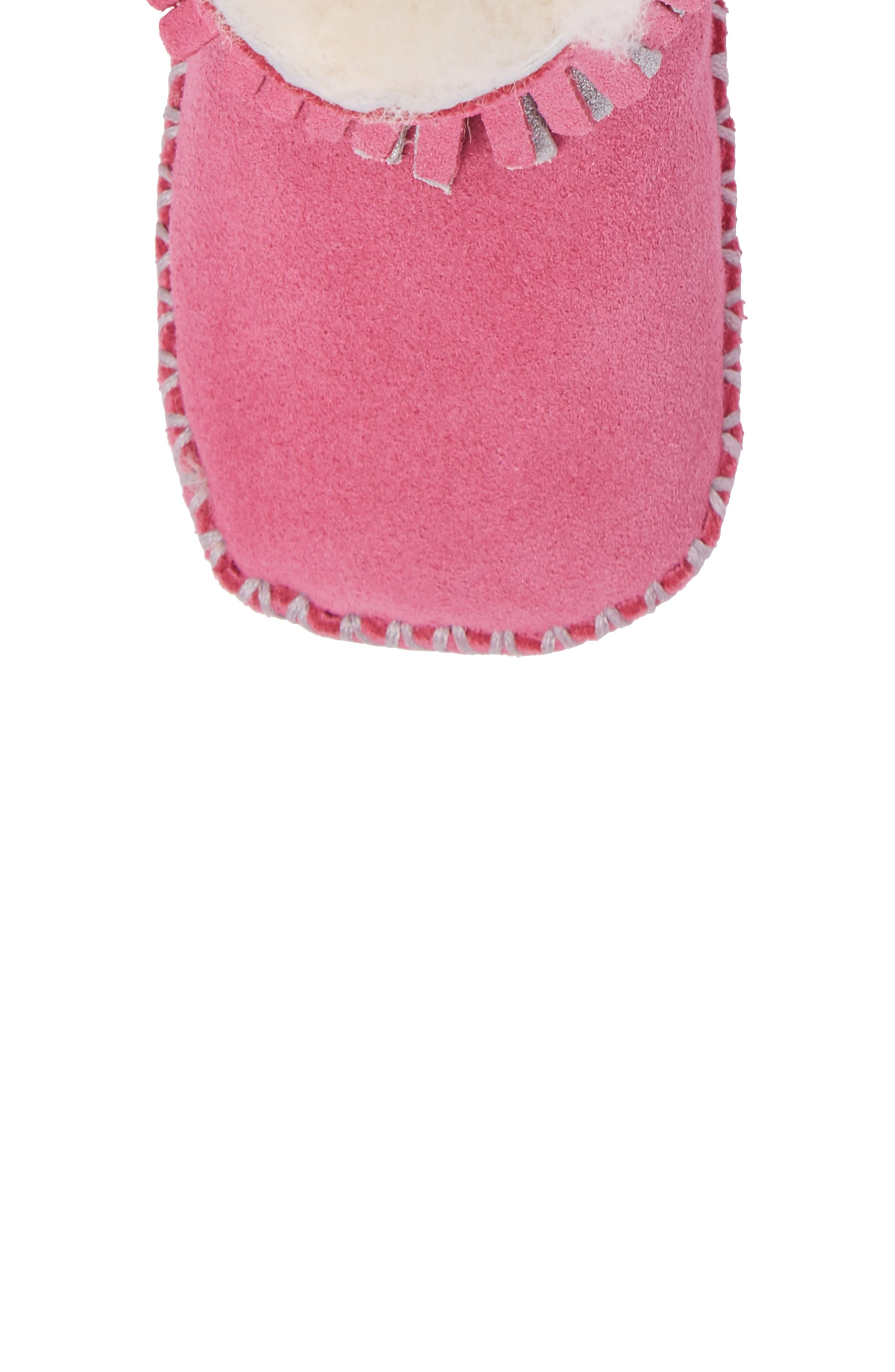 Branyon Fringe Genuine Shearling Bootie,                             Alternate thumbnail 5, color,                             Pink Azalea