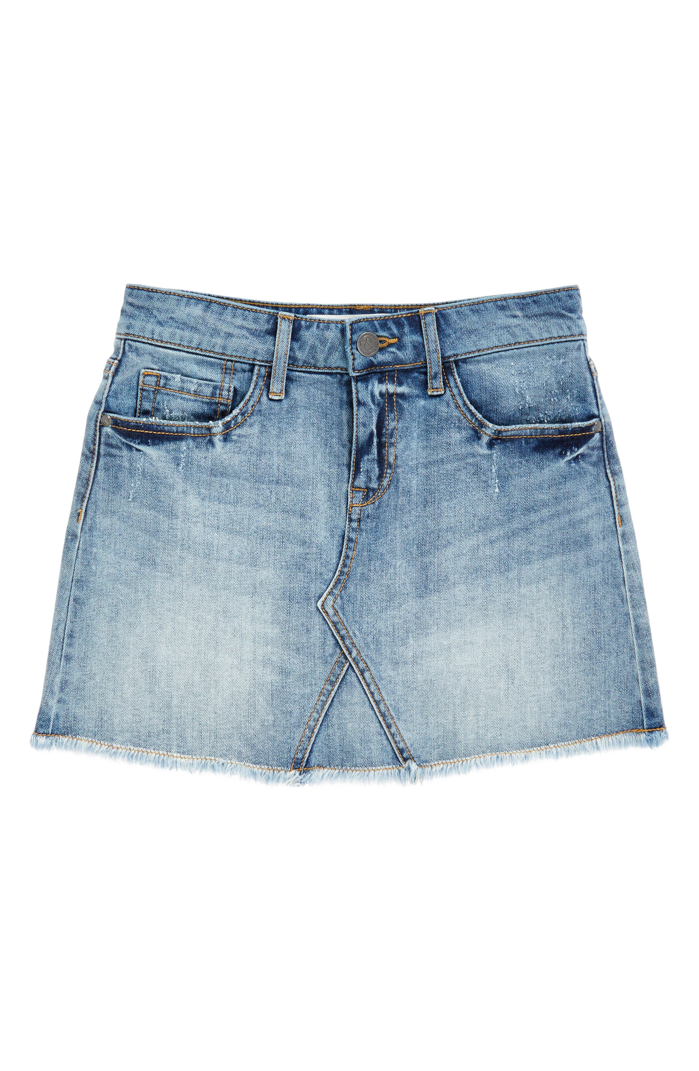 Alternate Image 1 Selected - Treasure & Bond Cutoff Denim Skirt (Big Girls)