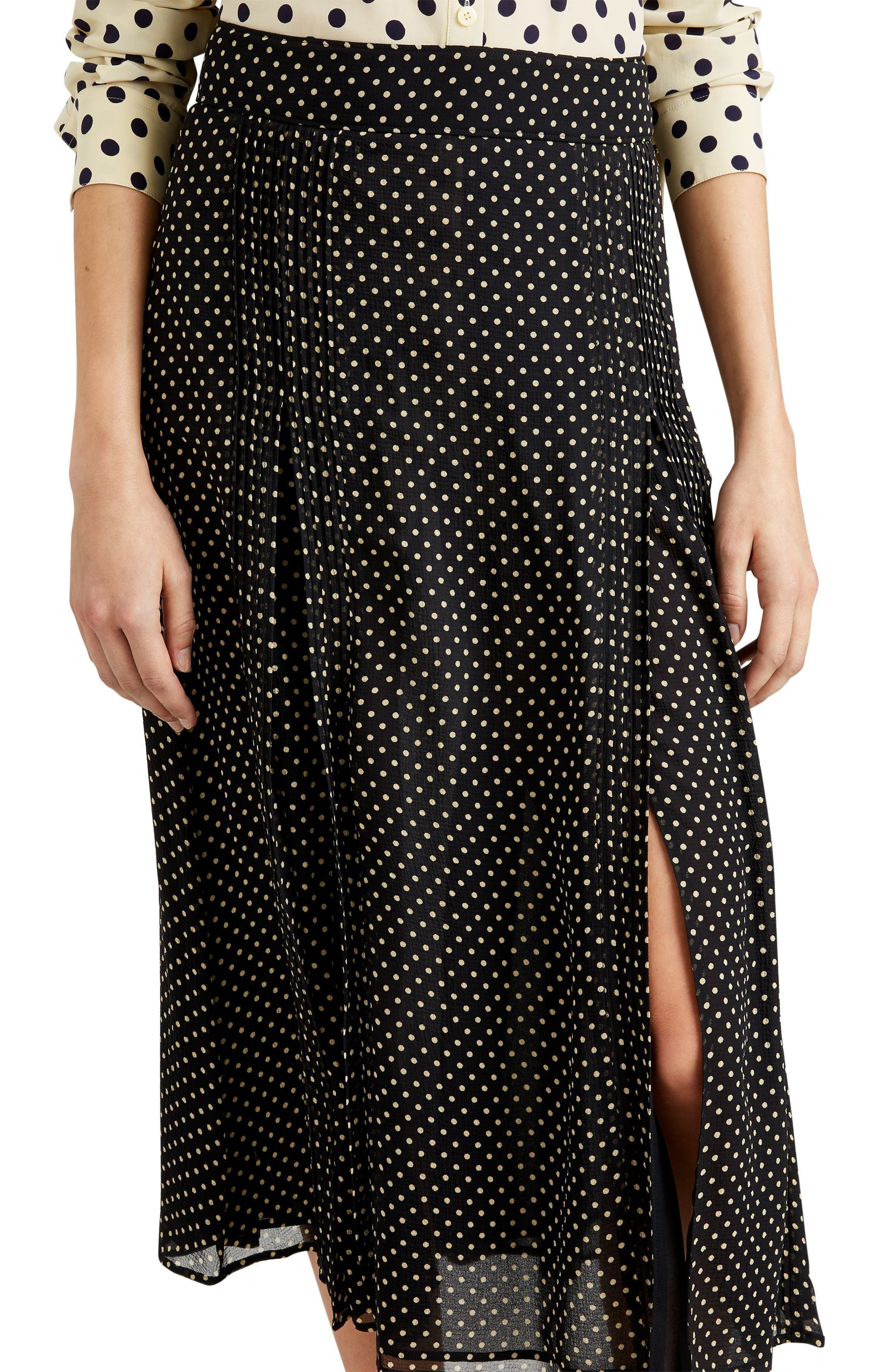 Fine Pintuck Dot Print Silk Skirt,                             Alternate thumbnail 3, color,                             Black