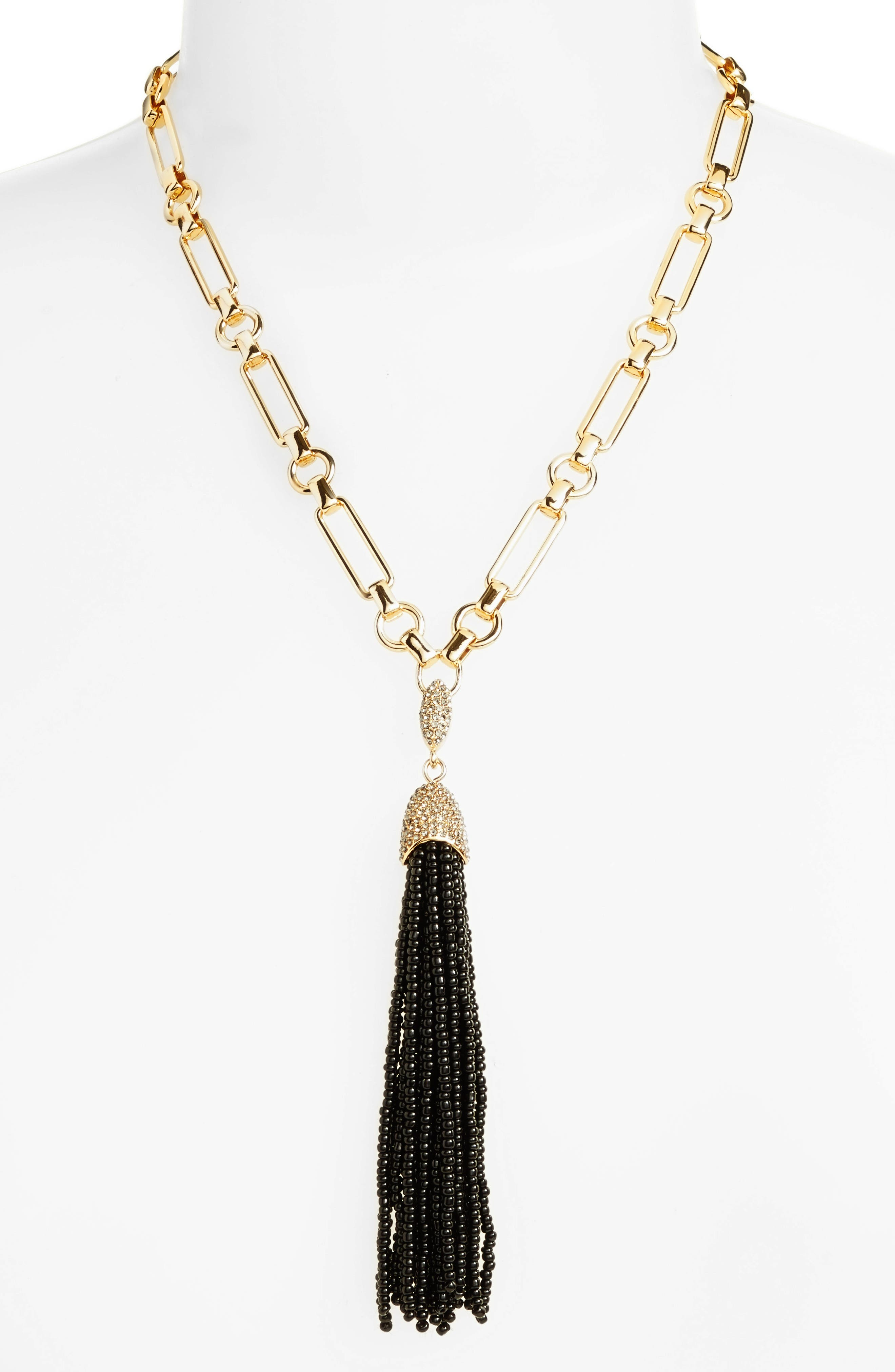 Seed Bead Tassel Y-Necklace,                             Alternate thumbnail 4, color,                             Jet/ Gold