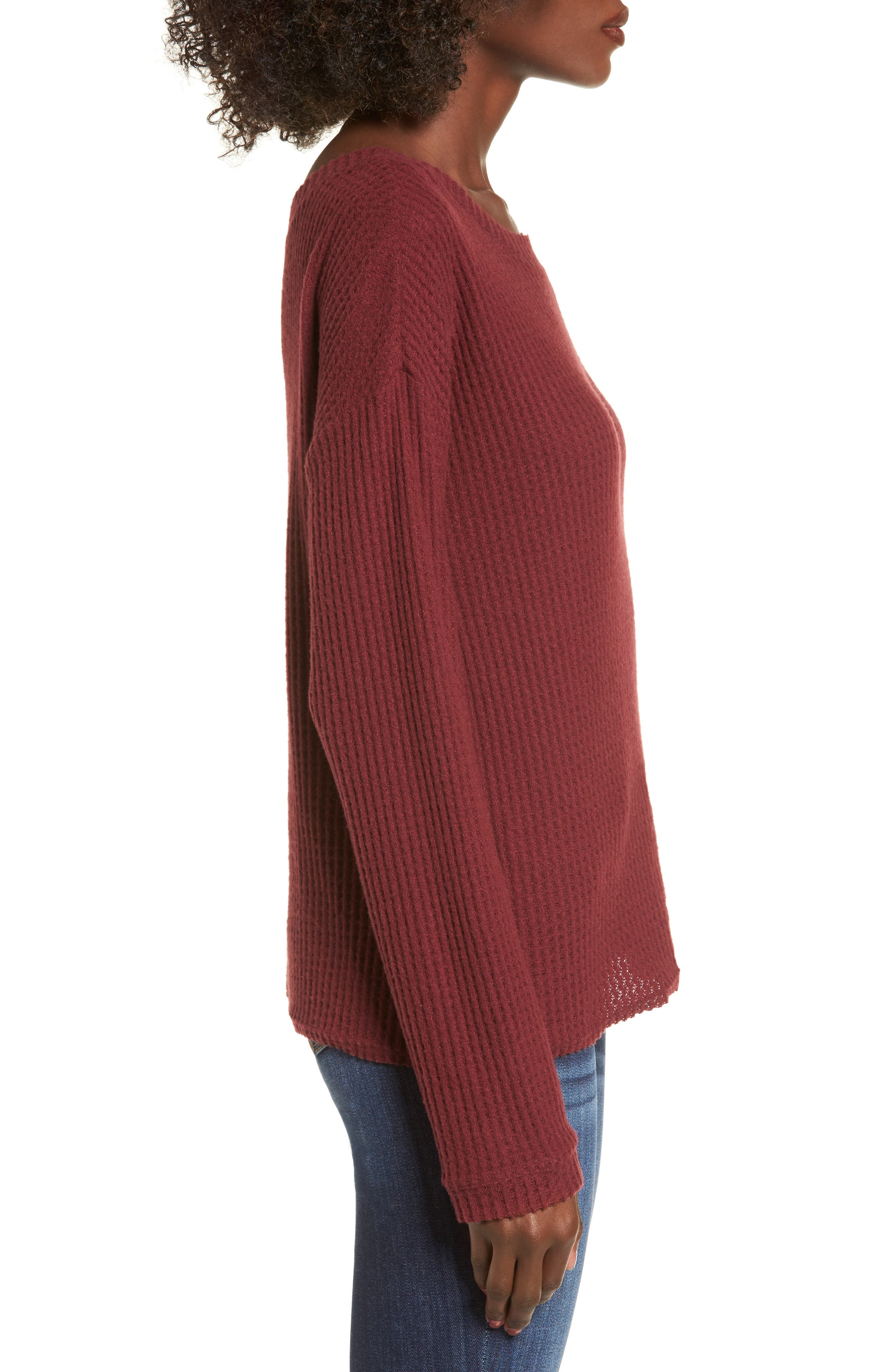 Waffle Knit Top,                             Alternate thumbnail 3, color,                             Red Cordov