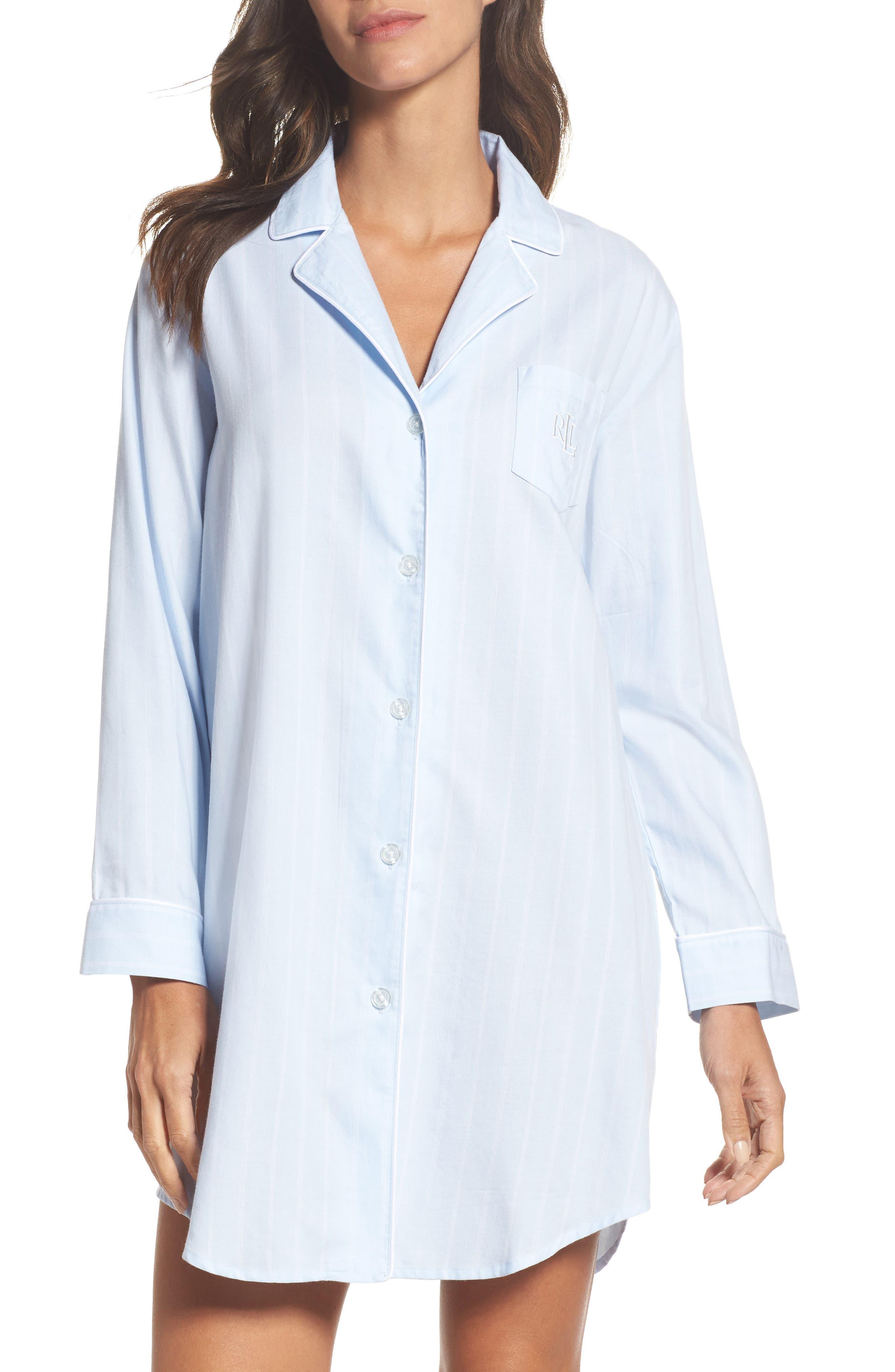 Notch Collar Sleep Shirt,                         Main,                         color, Blue Pin Stripe