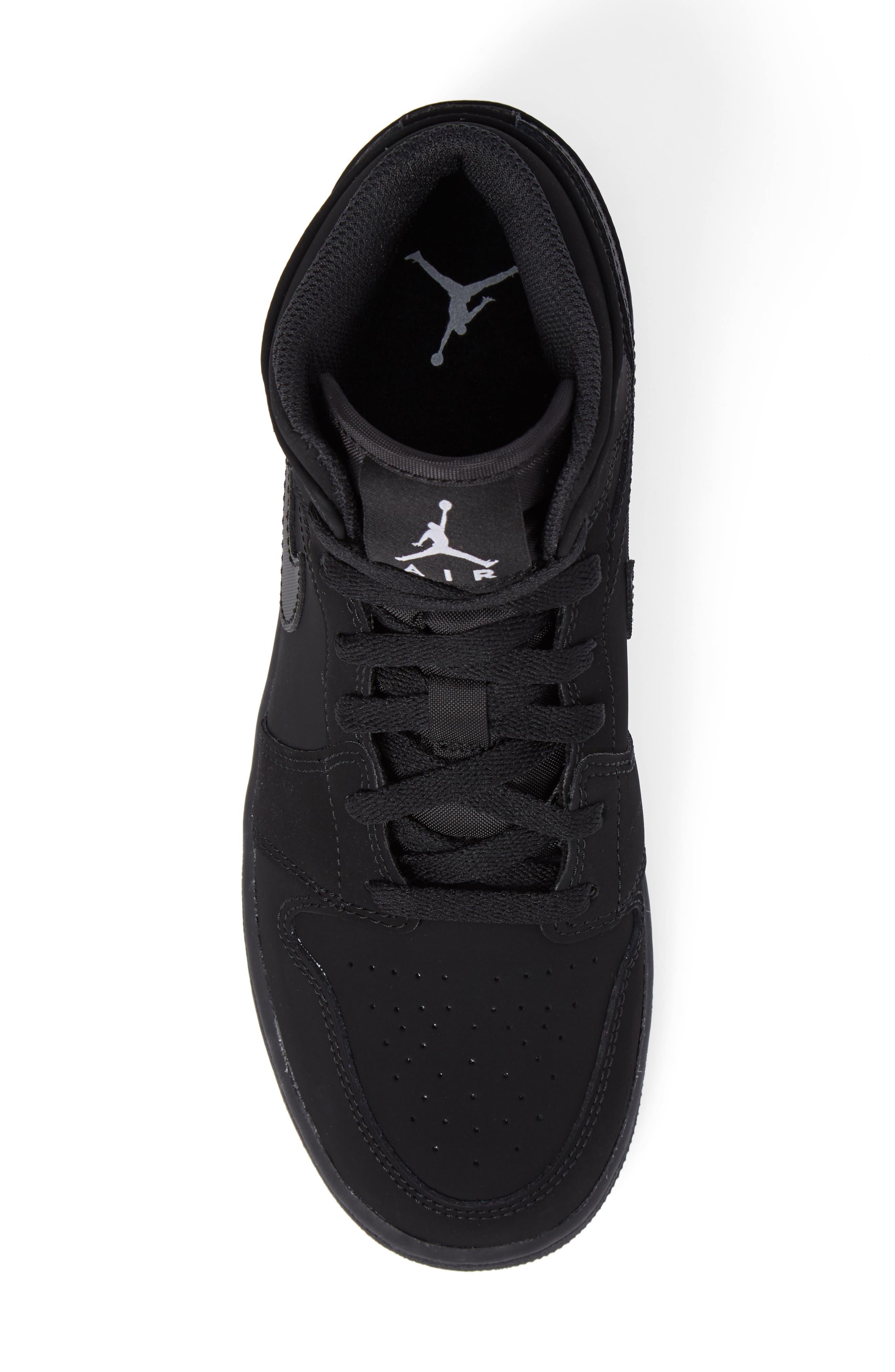 Nike 'Air Jordan 1 Mid' Sneaker,                             Alternate thumbnail 5, color,                             Black