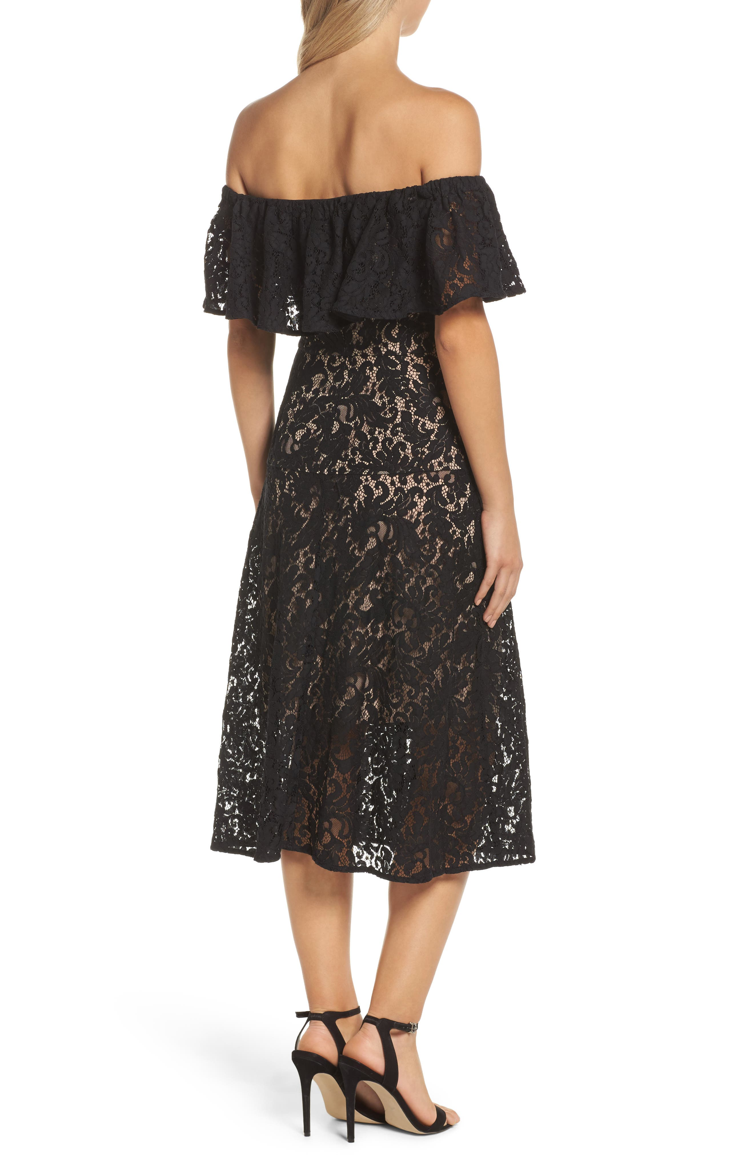 Sunday Silence Lace Off the Shoulder Dress,                             Alternate thumbnail 2, color,                             Black