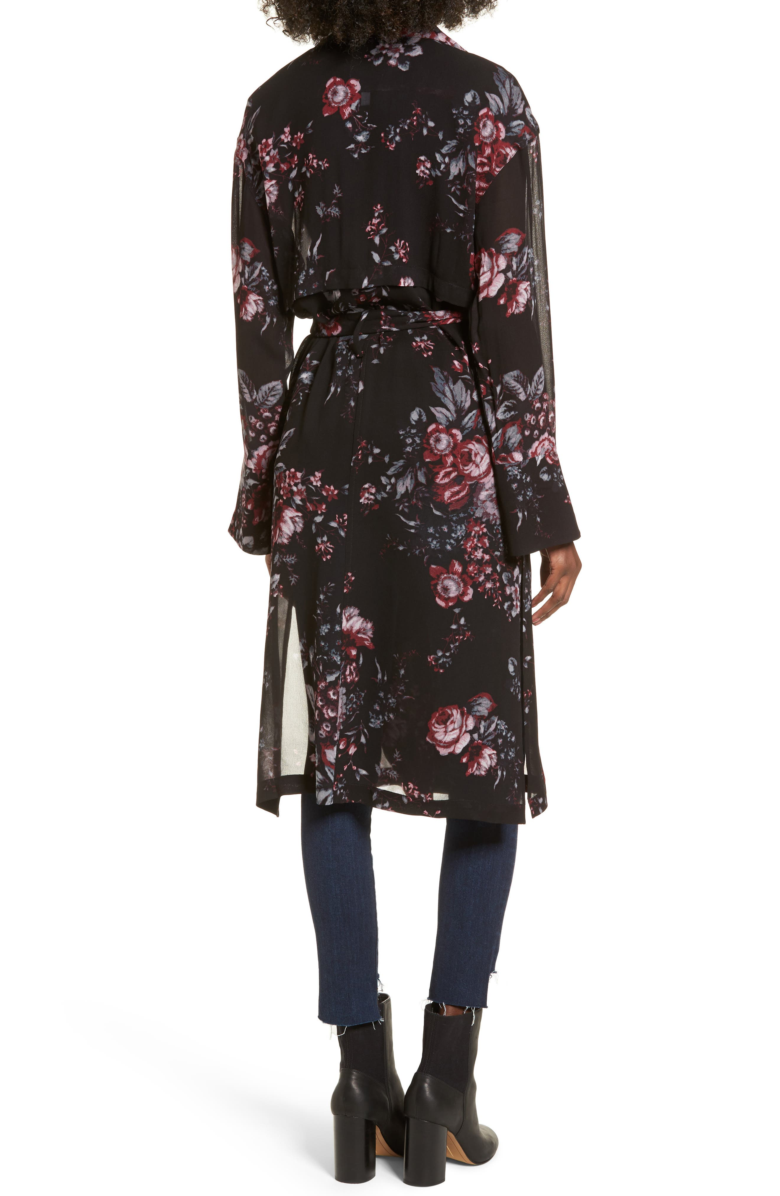 Floral Trench Coat,                             Alternate thumbnail 2, color,                             Black Photo Real Floral