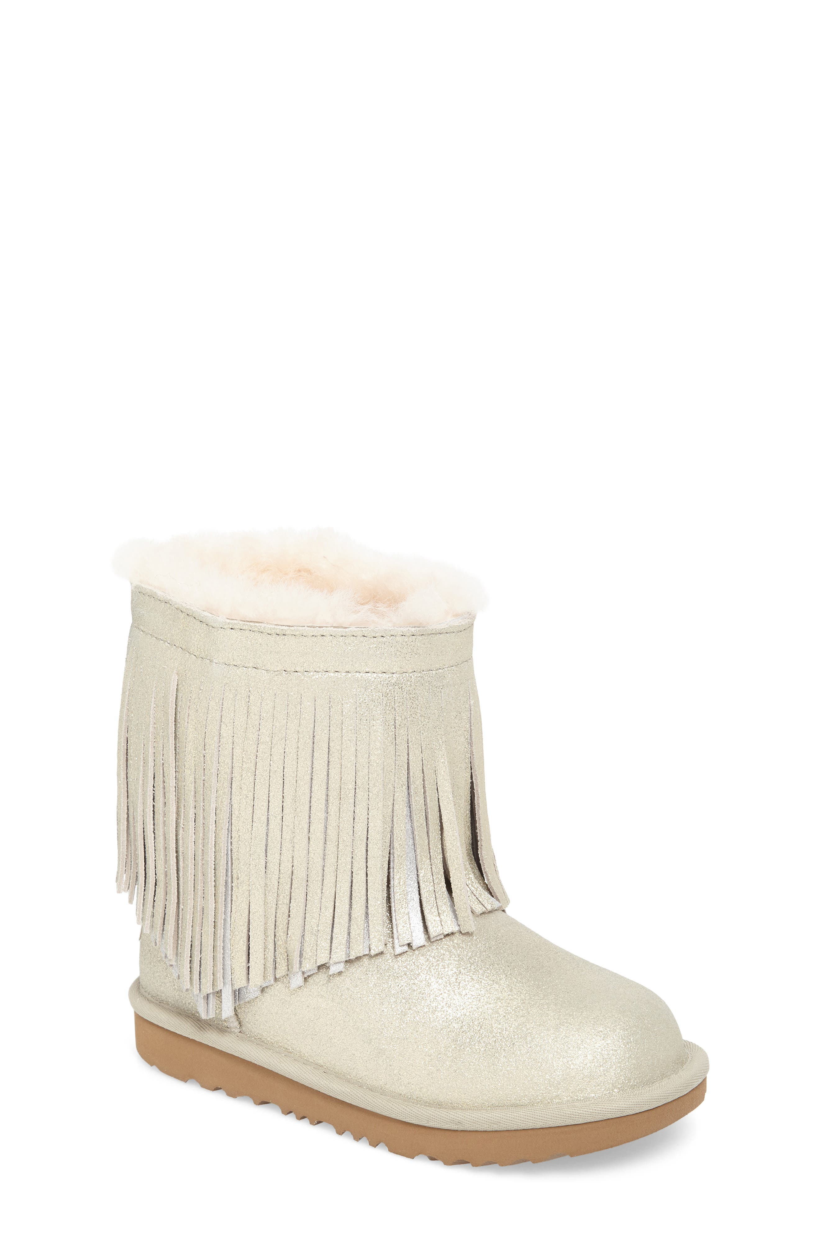 Classic Short II Genuine Shearling Metallic Fringe Bootie,                             Main thumbnail 1, color,                             Gold