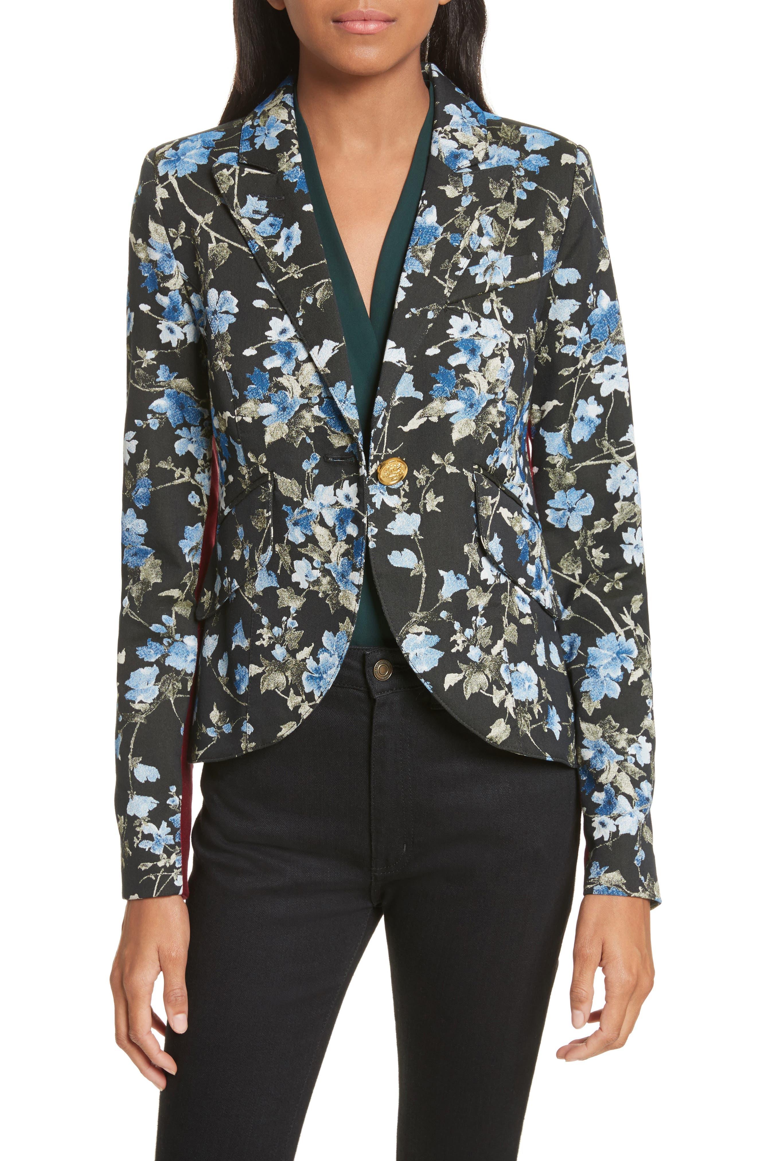 Tuxedo Stripe Floral Jacquard Blazer,                             Main thumbnail 1, color,                             Floral