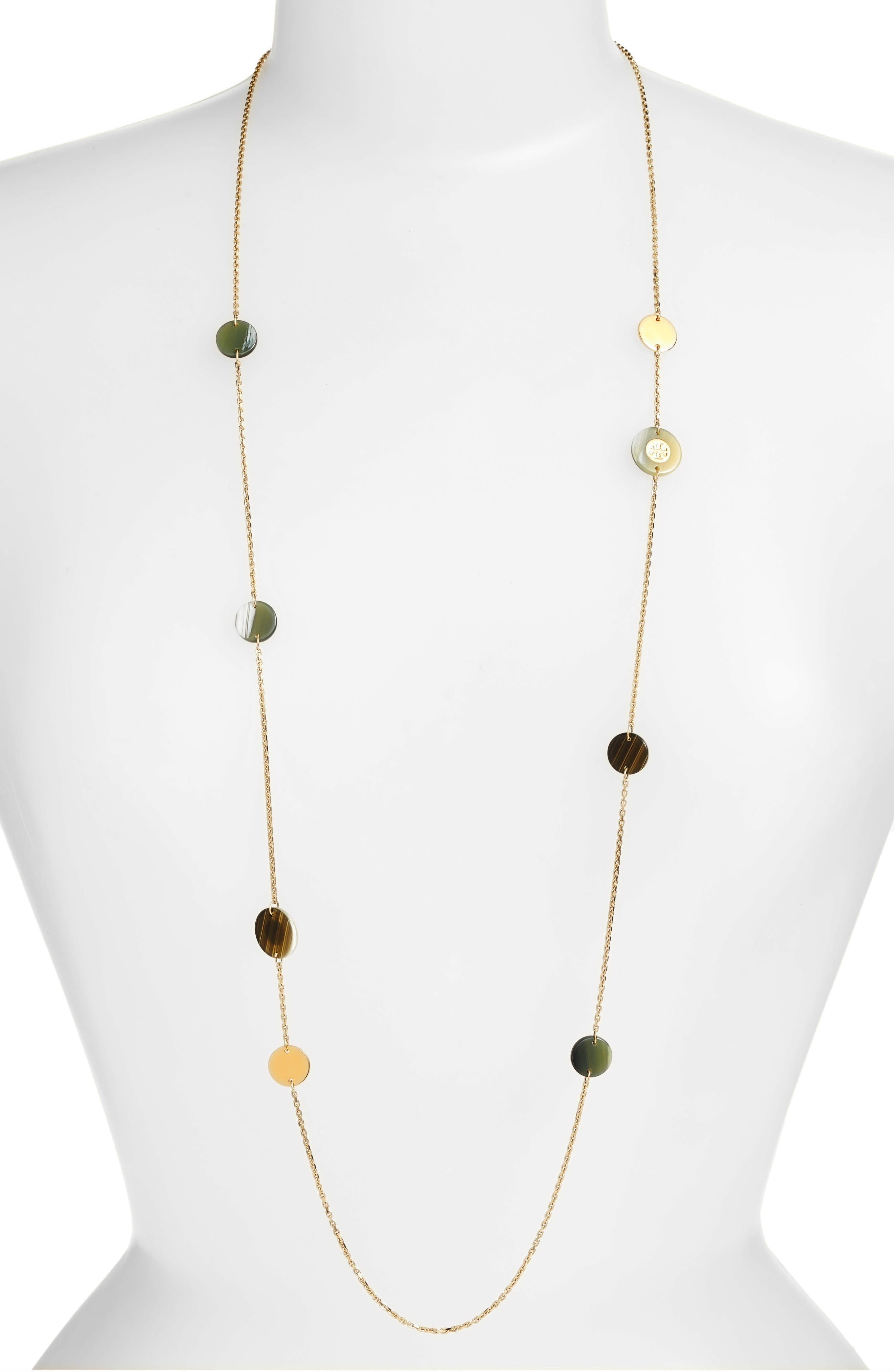 Colorblock Rosary Station Necklace,                         Main,                         color, New Ivory/ Horn/ Tory Gold