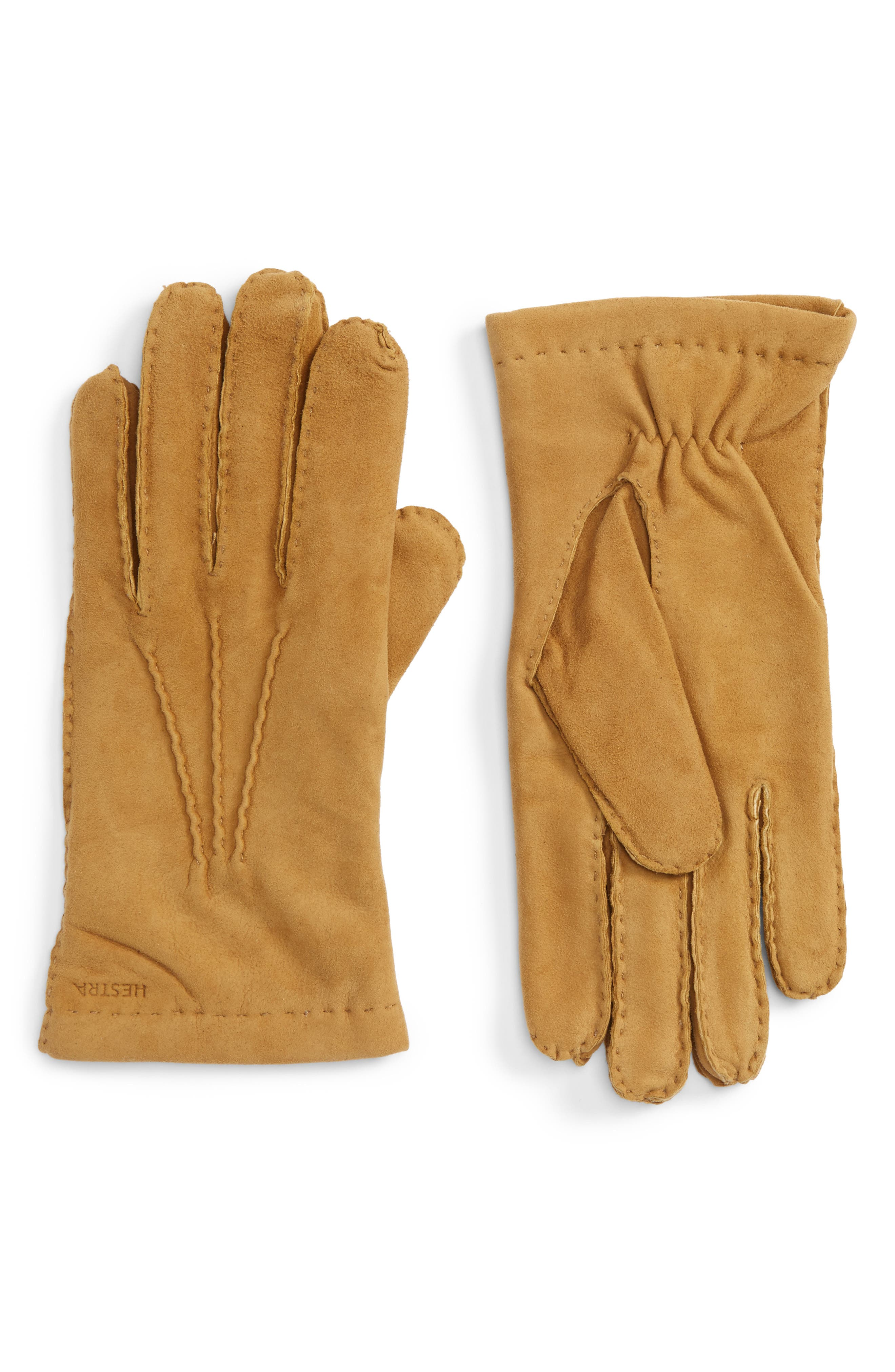 'Arthur' Suede Gloves,                             Main thumbnail 1, color,                             Camel