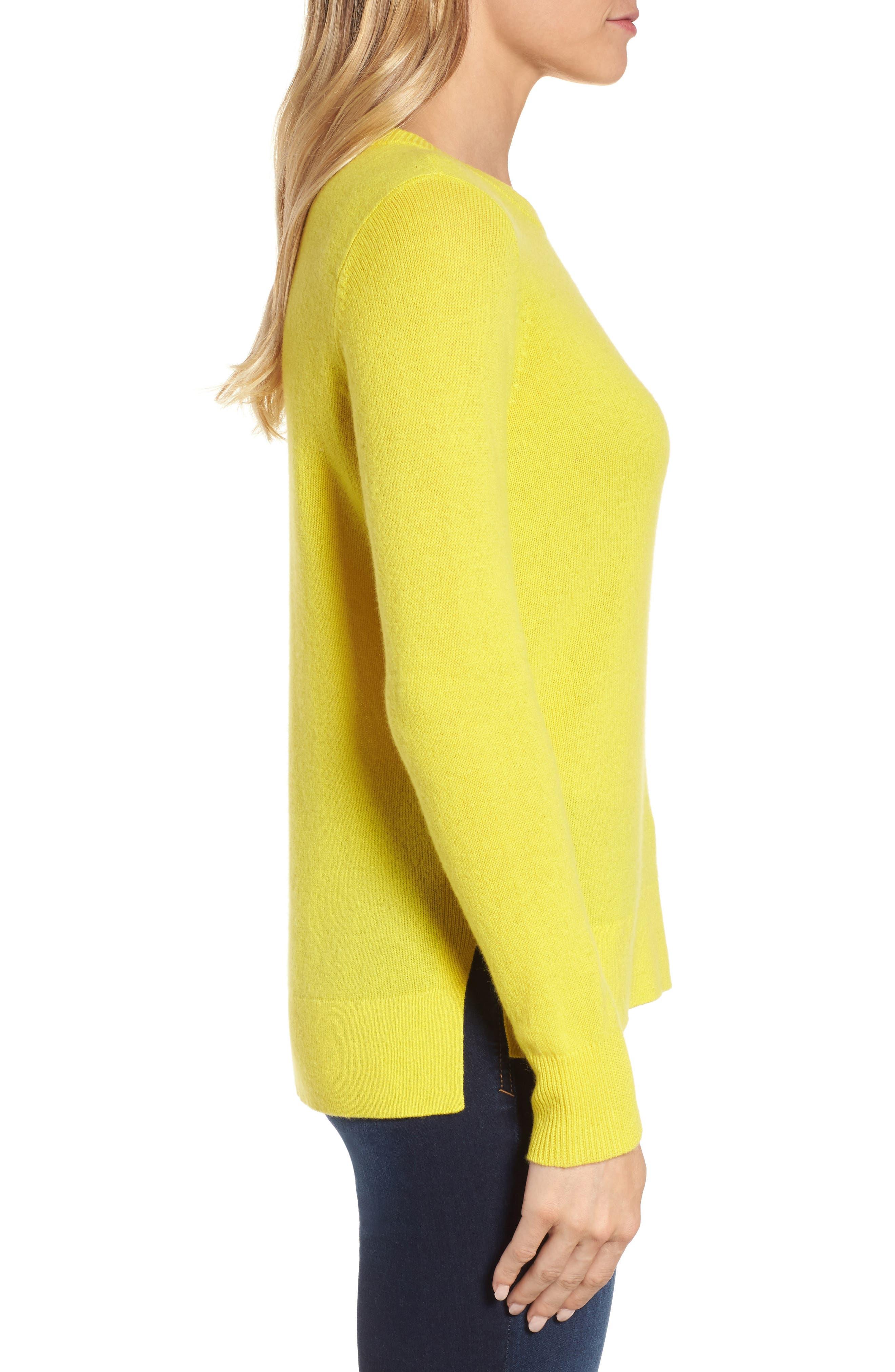 Crewneck Cashmere Sweater,                             Alternate thumbnail 4, color,                             Blazing Buttercup