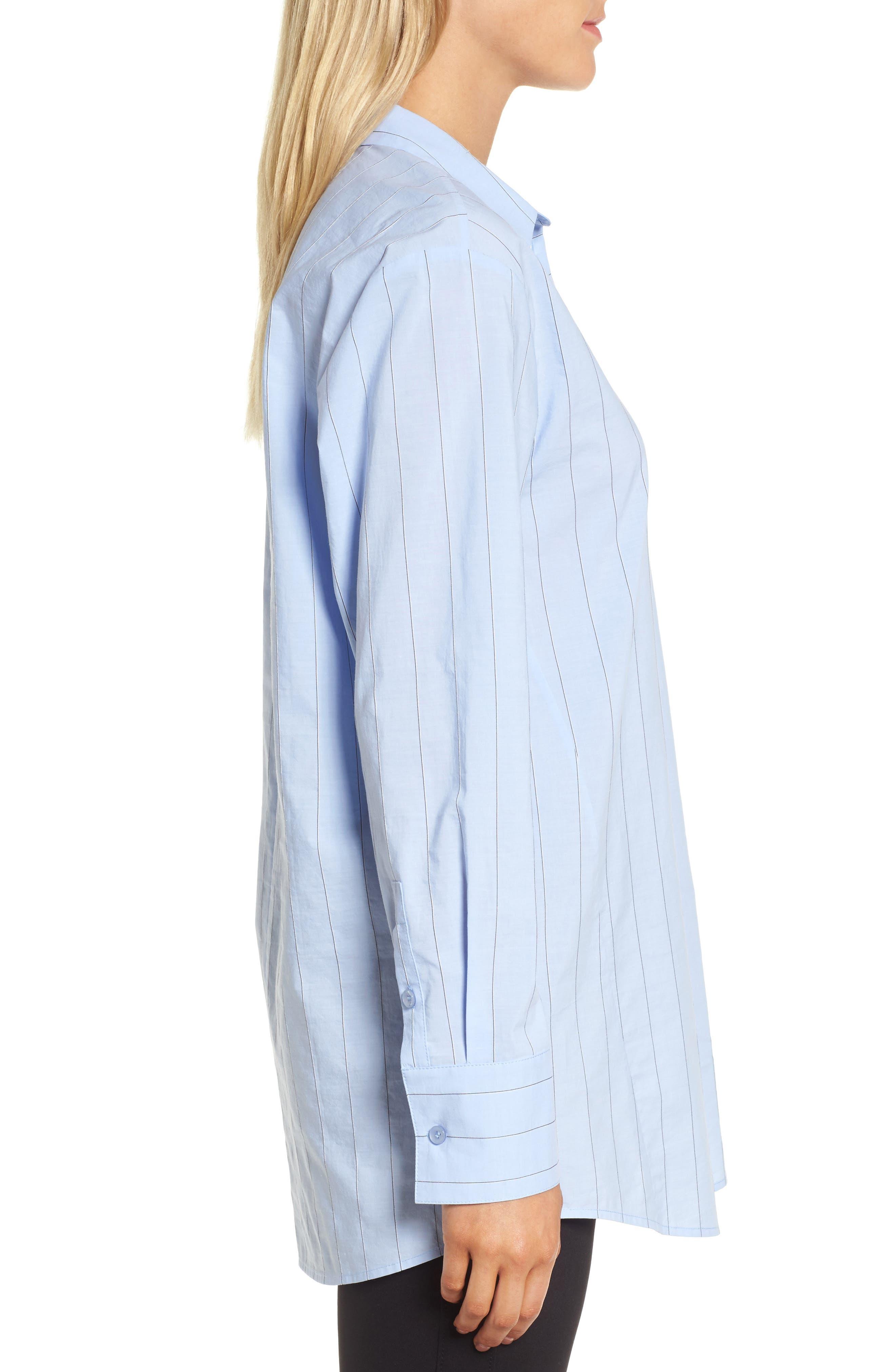 Keyhole Back Stripe Tunic Shirt,                             Alternate thumbnail 3, color,                             Blue Oxford Micro Stripe