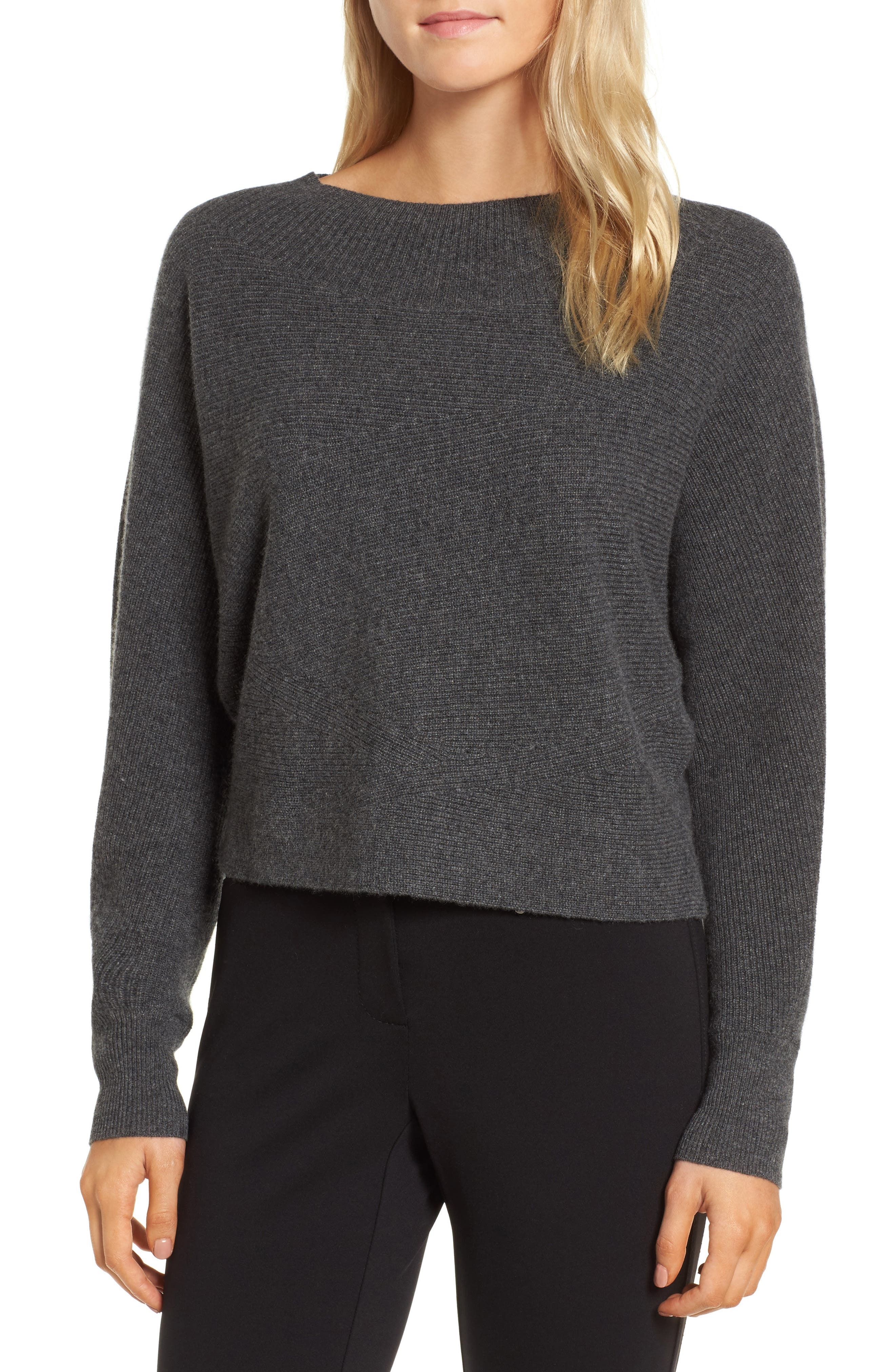 Dolman Sleeve Cashmere Sweater,                             Main thumbnail 1, color,                             Grey Castlerock Heather