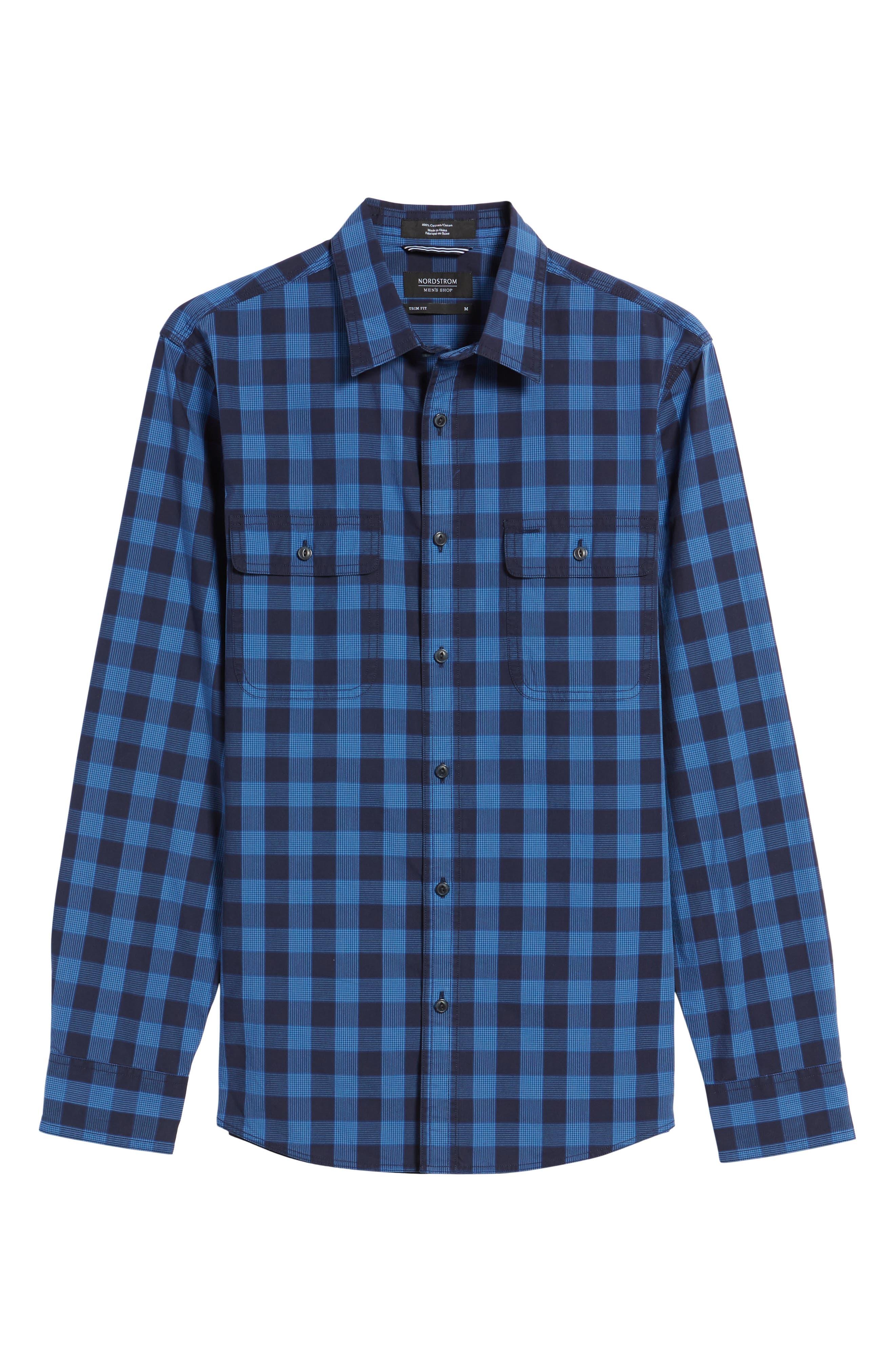 Trim Fit Plaid Trucker Sport Shirt,                             Alternate thumbnail 6, color,                             Navy Iris Blue Check