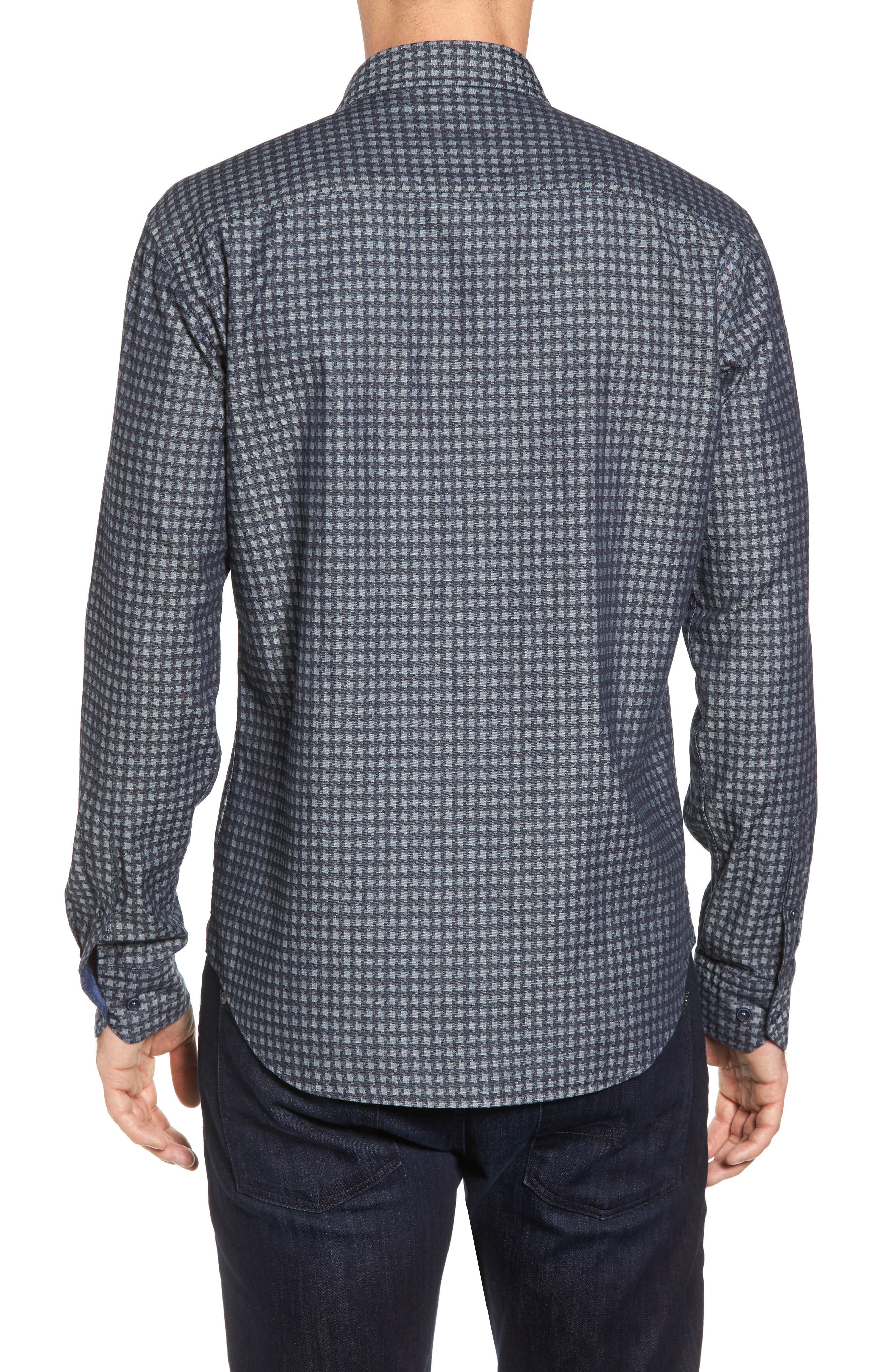 Shaped Fit Houndstooth Print Sport Shirt,                             Alternate thumbnail 2, color,                             Navy