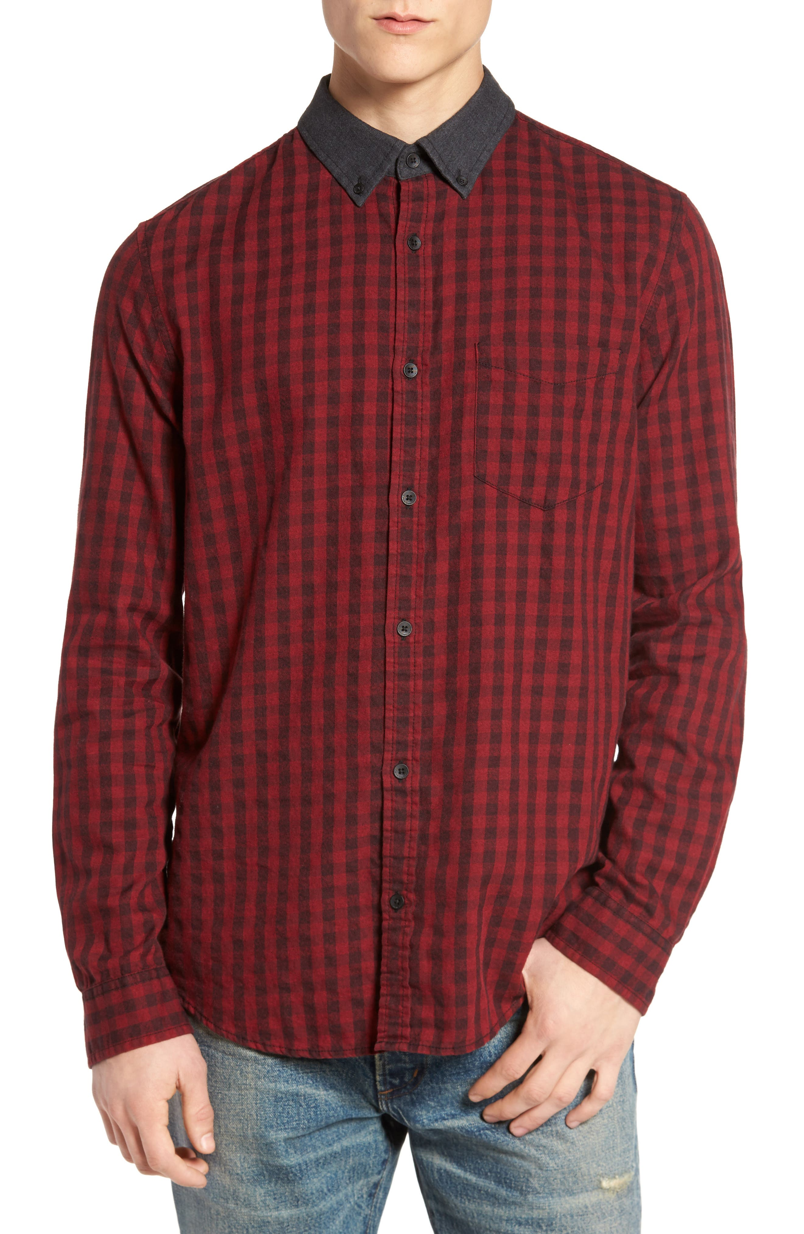Barn Flannel Shirt,                         Main,                         color, Red Gala