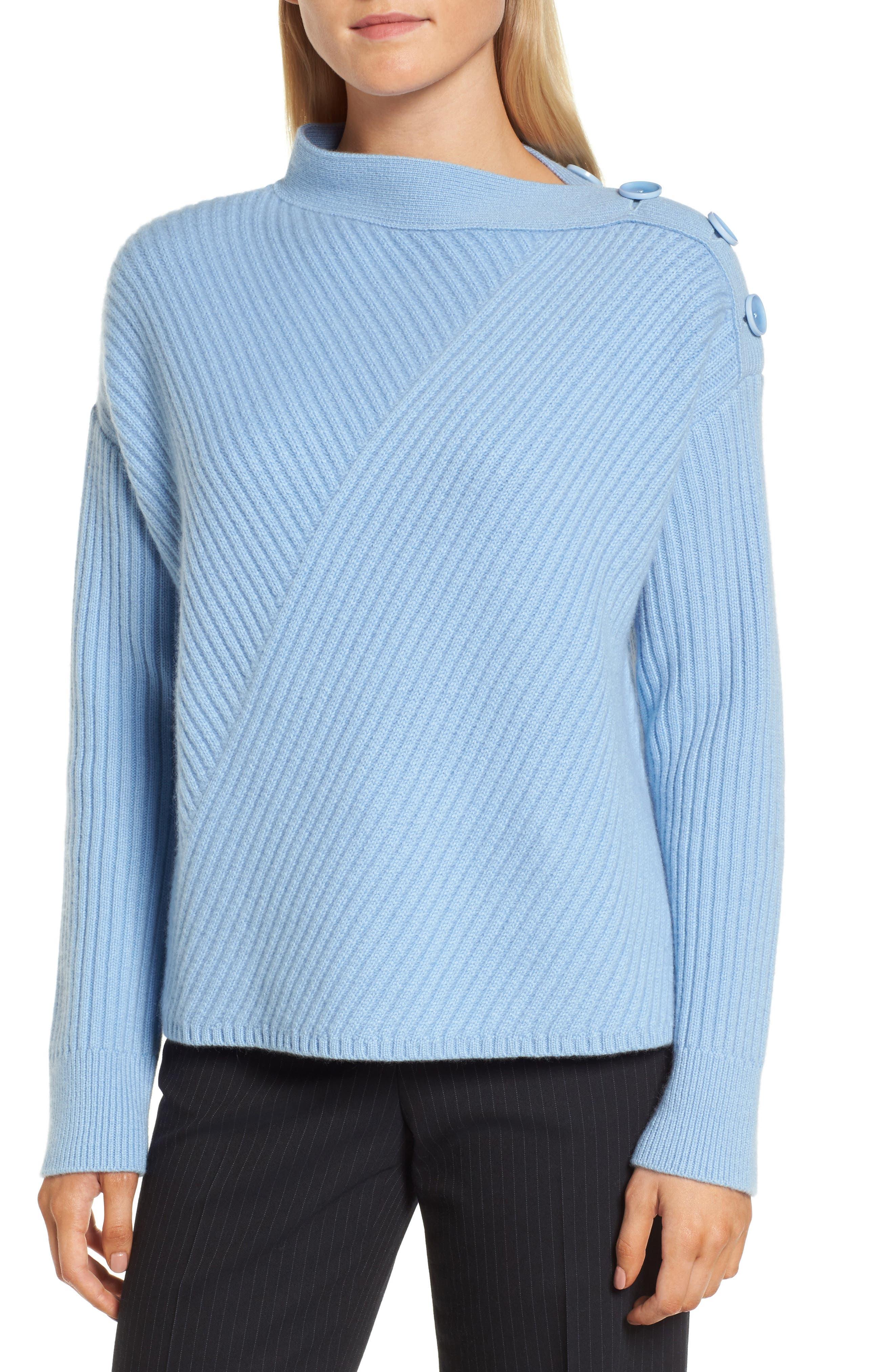 Bateau Neck Button Detail Cashmere Pullover,                         Main,                         color, Blue Robbia