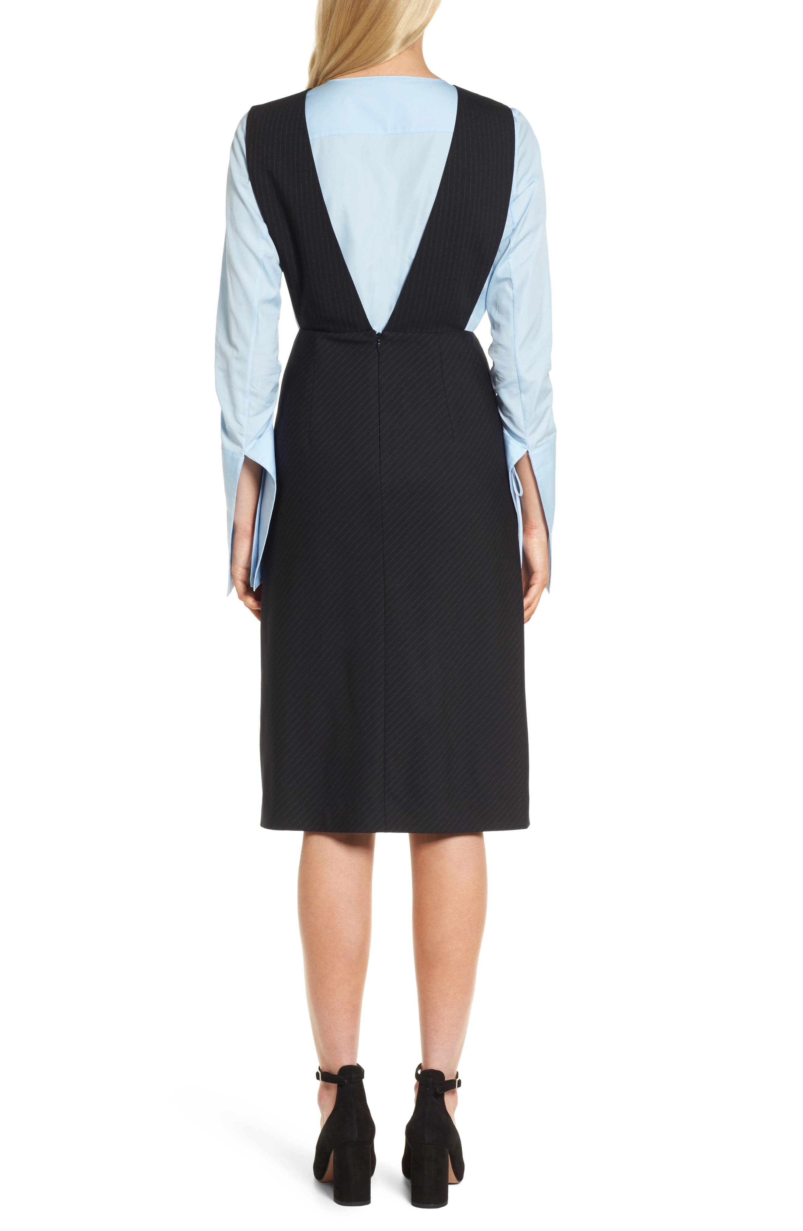 Bias Cut Pinstripe Jumper Dress,                             Alternate thumbnail 2, color,                             Navy Night Pinstripe