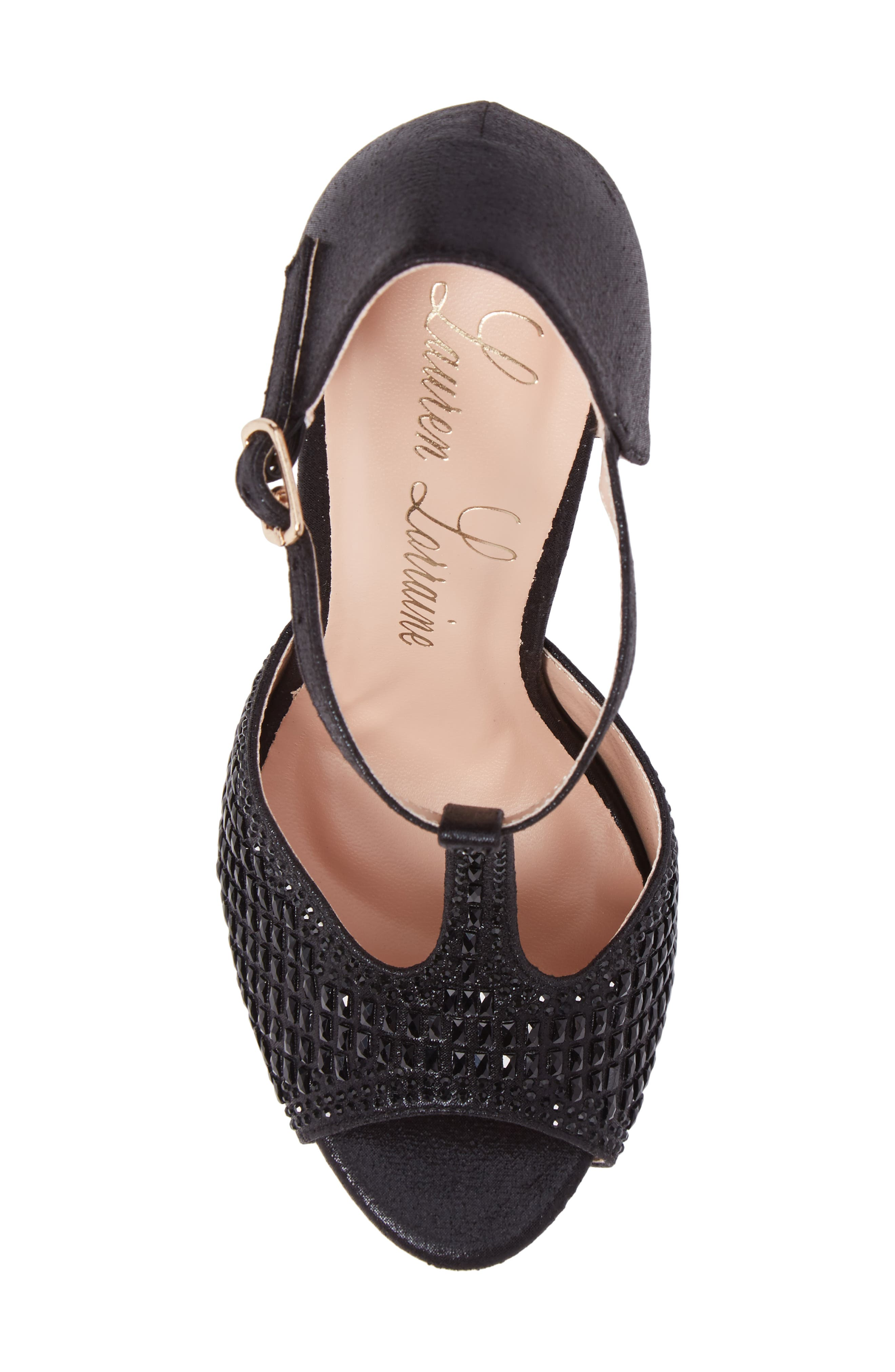 Vivian 4 Crystal Embellished Sandal,                             Alternate thumbnail 5, color,                             Black Shimmer