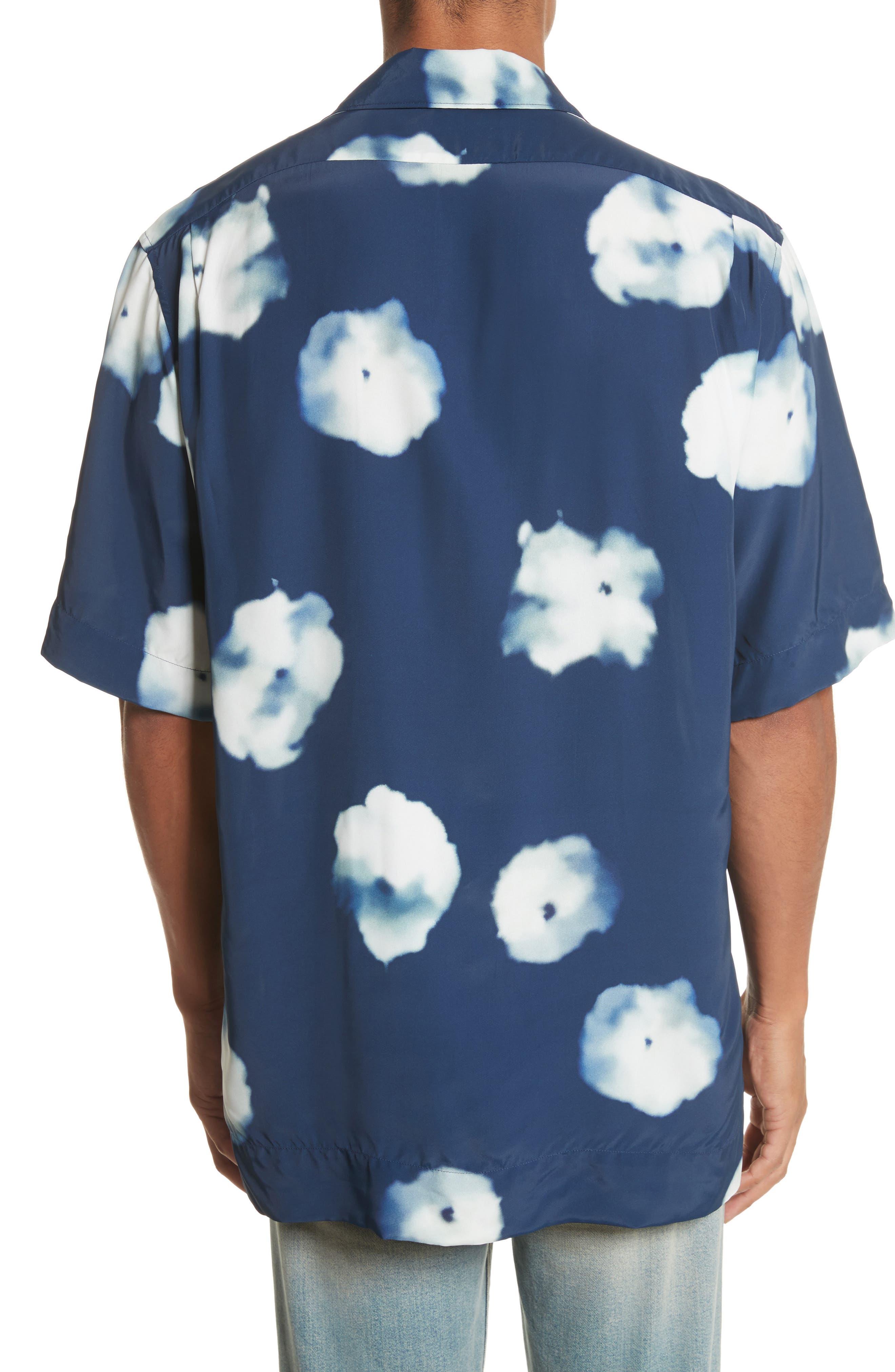 Elms Flower Print Shirt,                             Alternate thumbnail 3, color,                             Indigo Blue