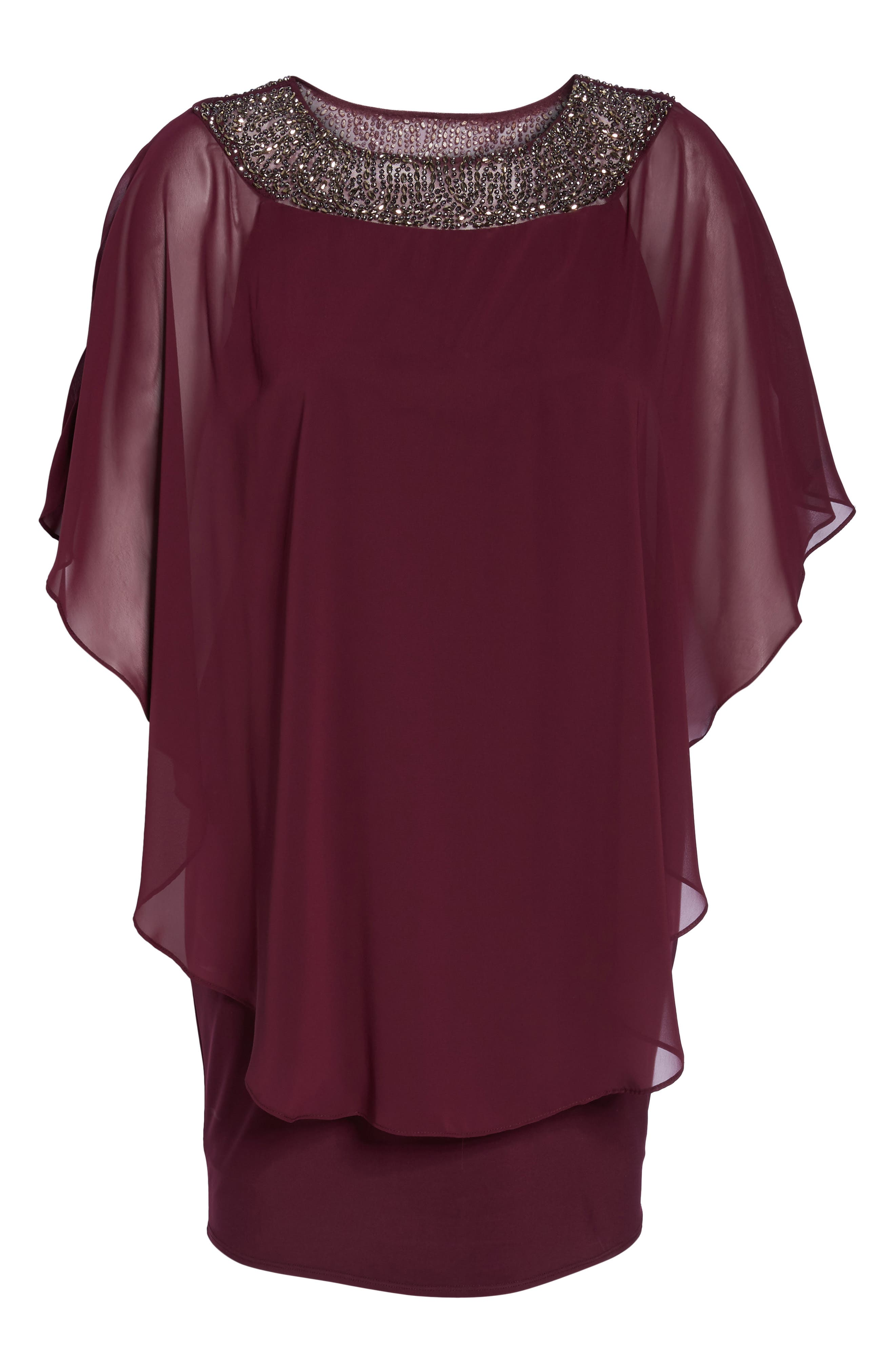 Alternate Image 6  - Xscape Embellished Chiffon Overlay Jersey Sheath Dress (Plus Size)