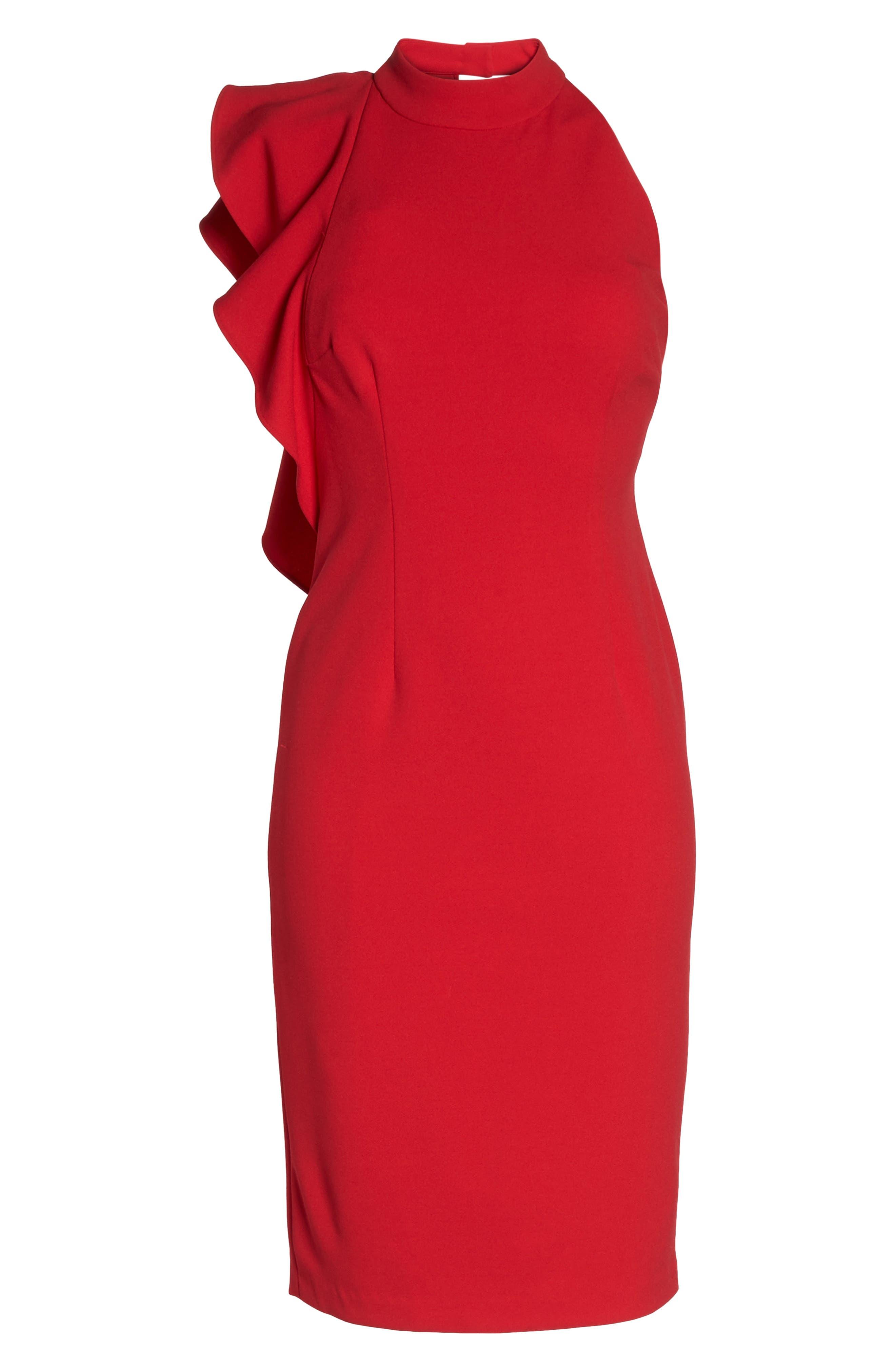 Ruffle Crepe Halter Dress,                             Alternate thumbnail 6, color,                             Red