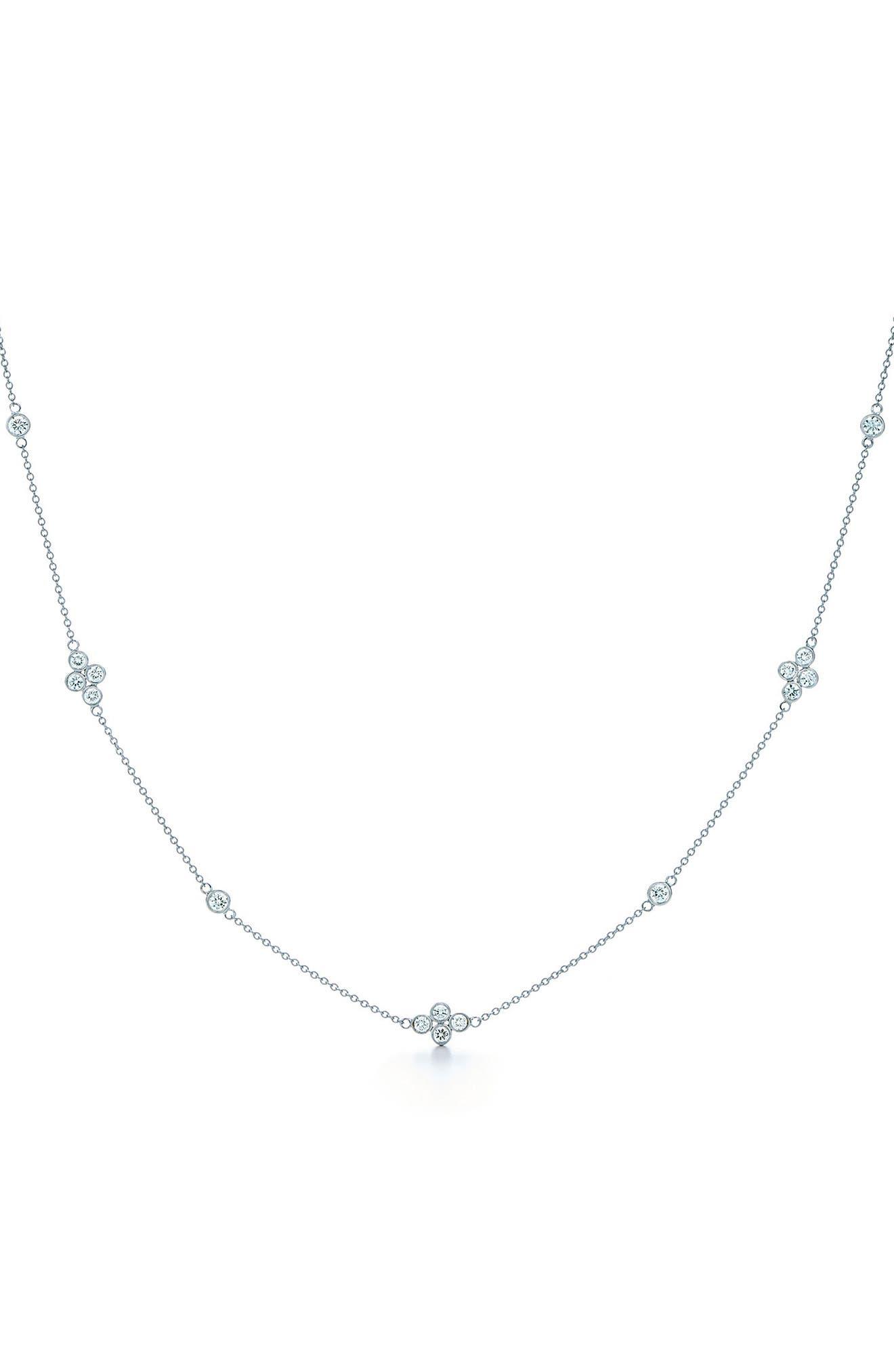 Diamond Collar Necklace,                         Main,                         color, White Gold