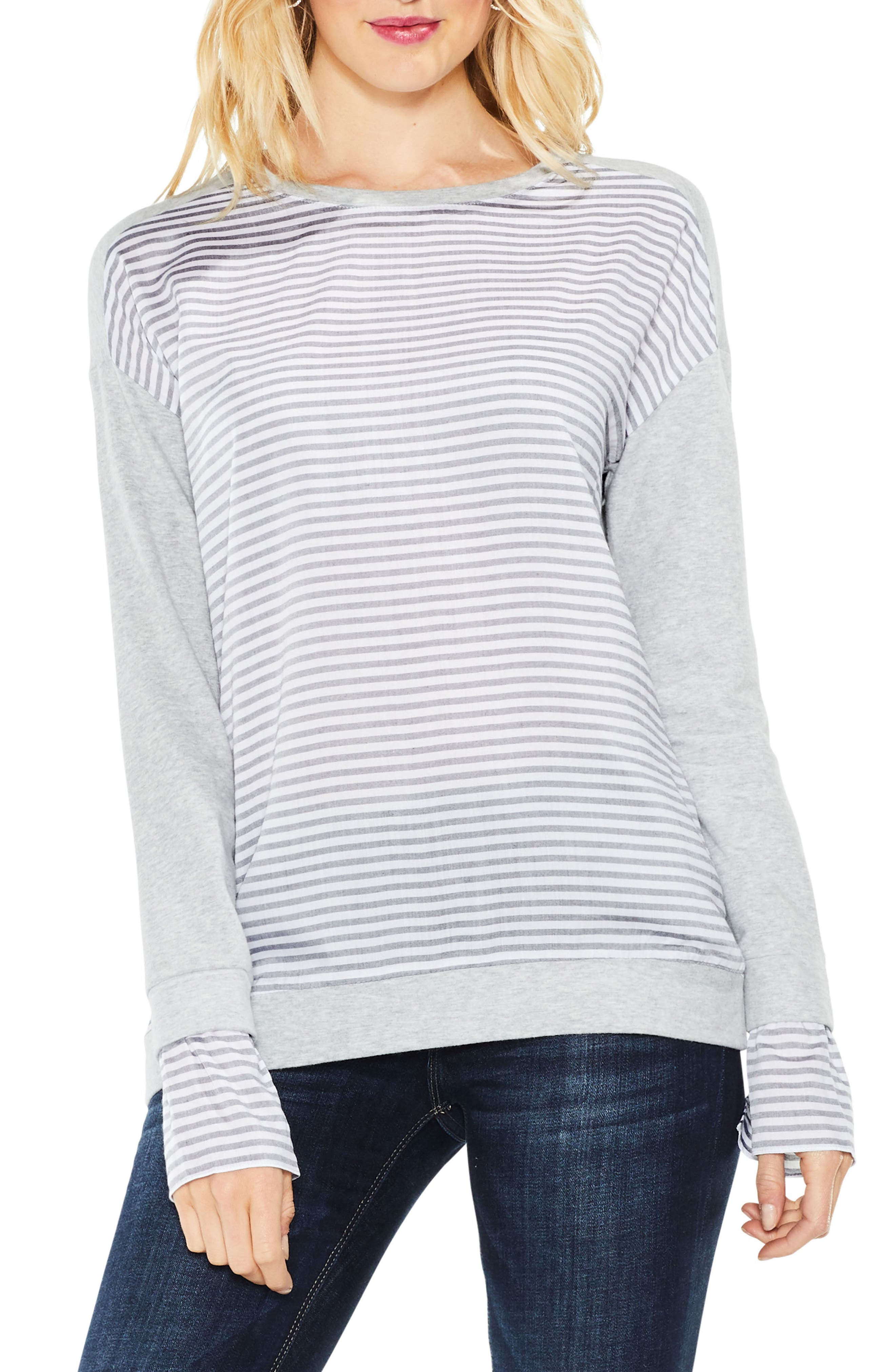 Stripe Cuff Frech Terry Pullover,                             Main thumbnail 1, color,                             Grey Heather