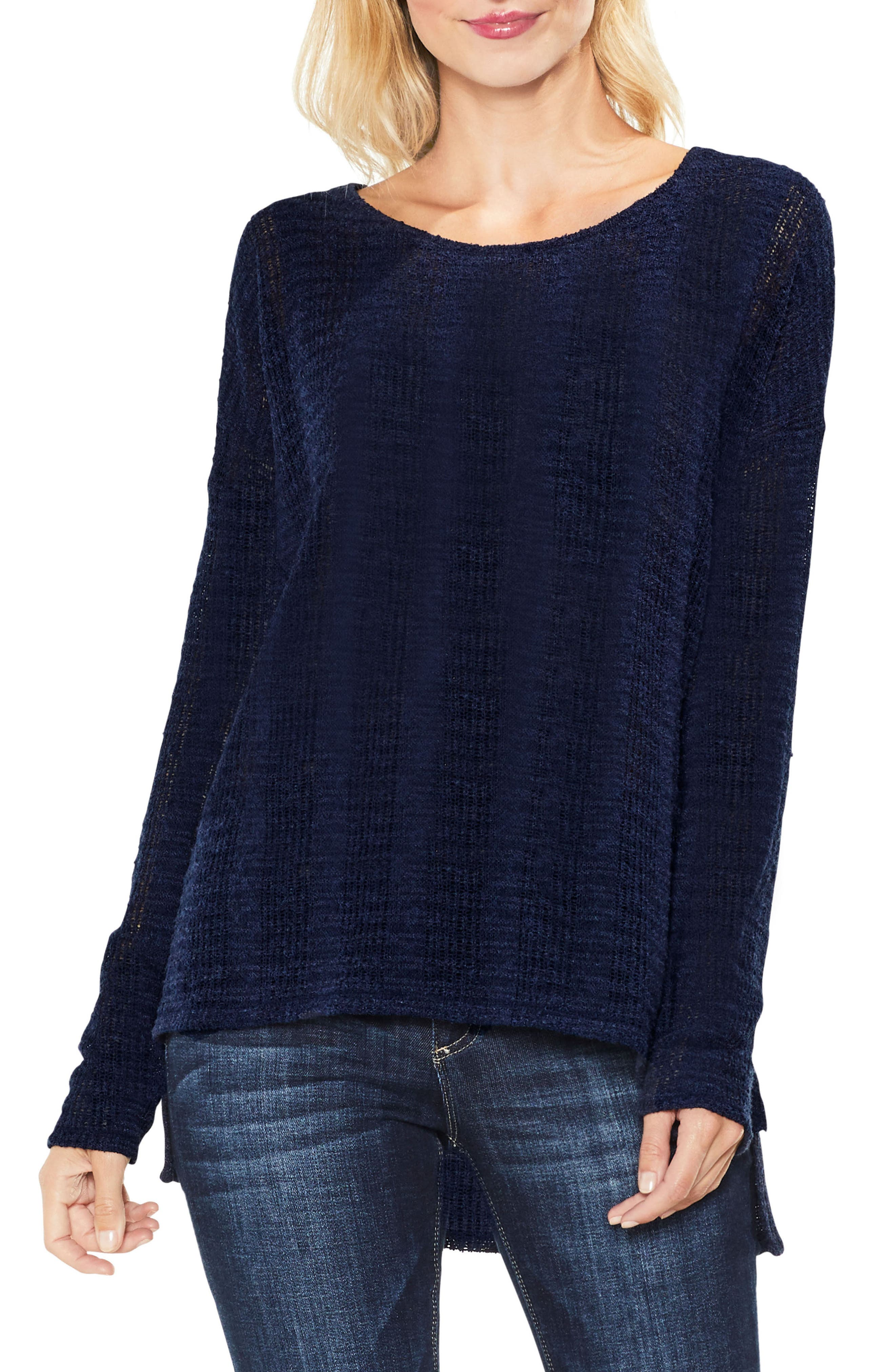 Two by Vince Camuto Drop Needle High/Low Top,                         Main,                         color, Blue Night