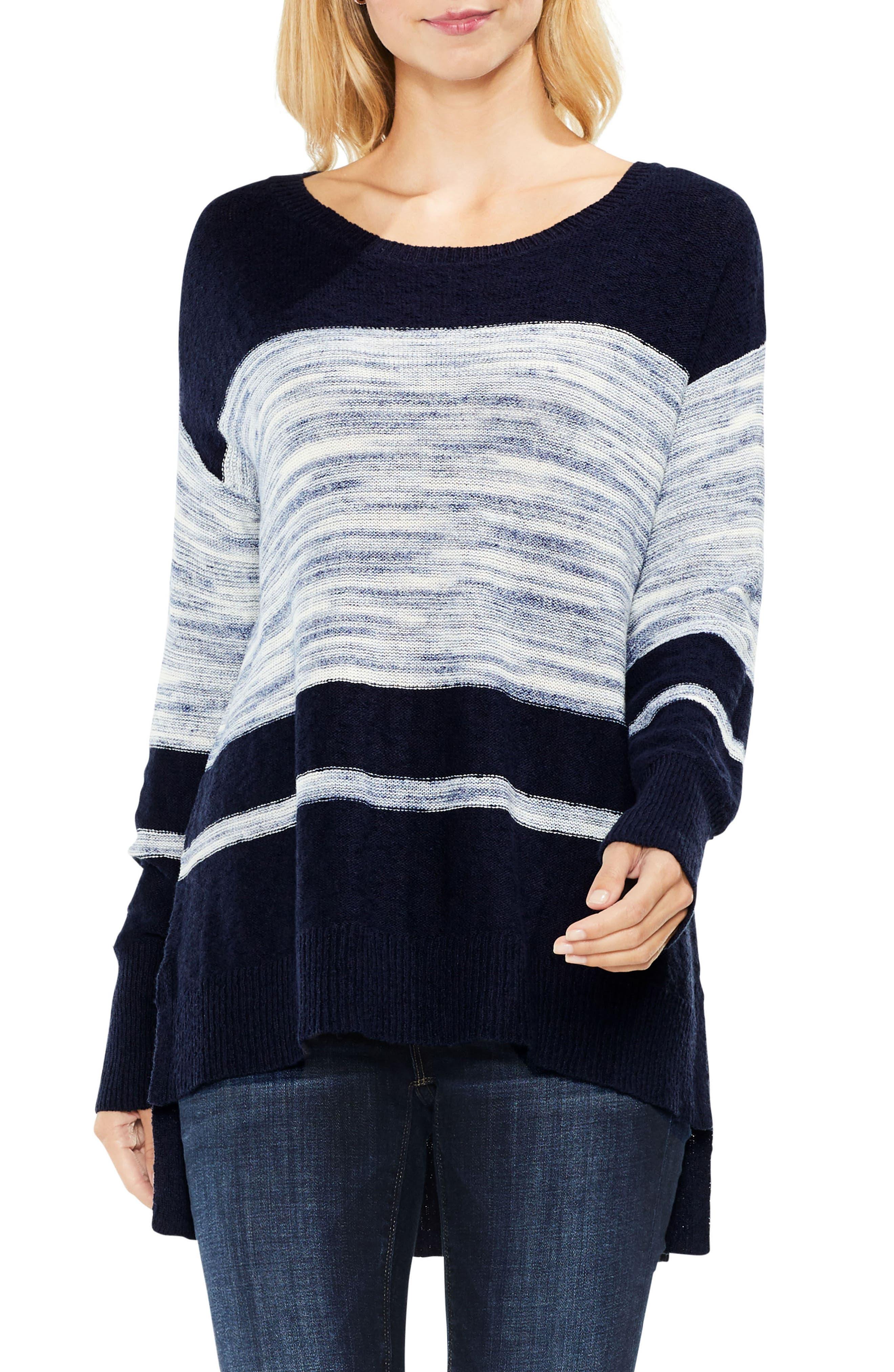 Space Dye Stripe Sweater,                         Main,                         color, Blue Night