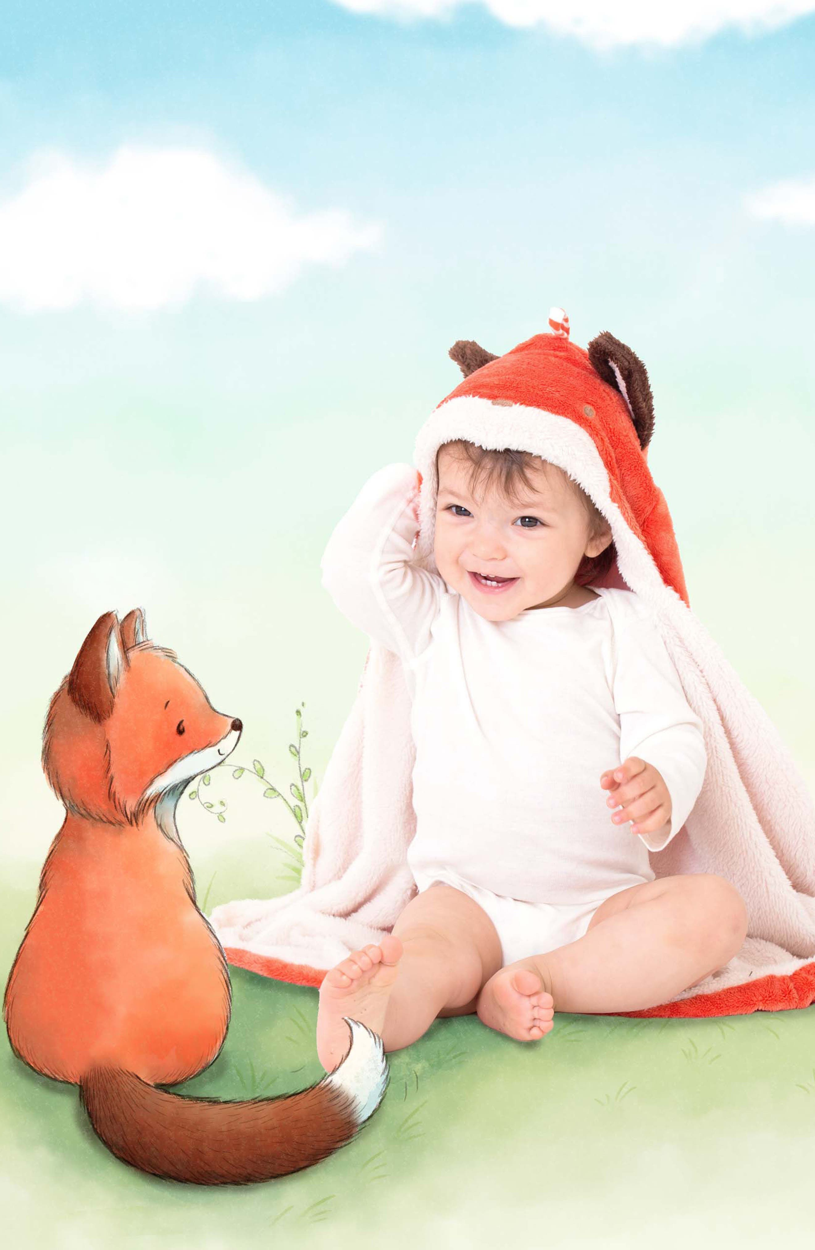 Alternate Image 3  - Bunnies By The Bay Fox Hooded Blanket