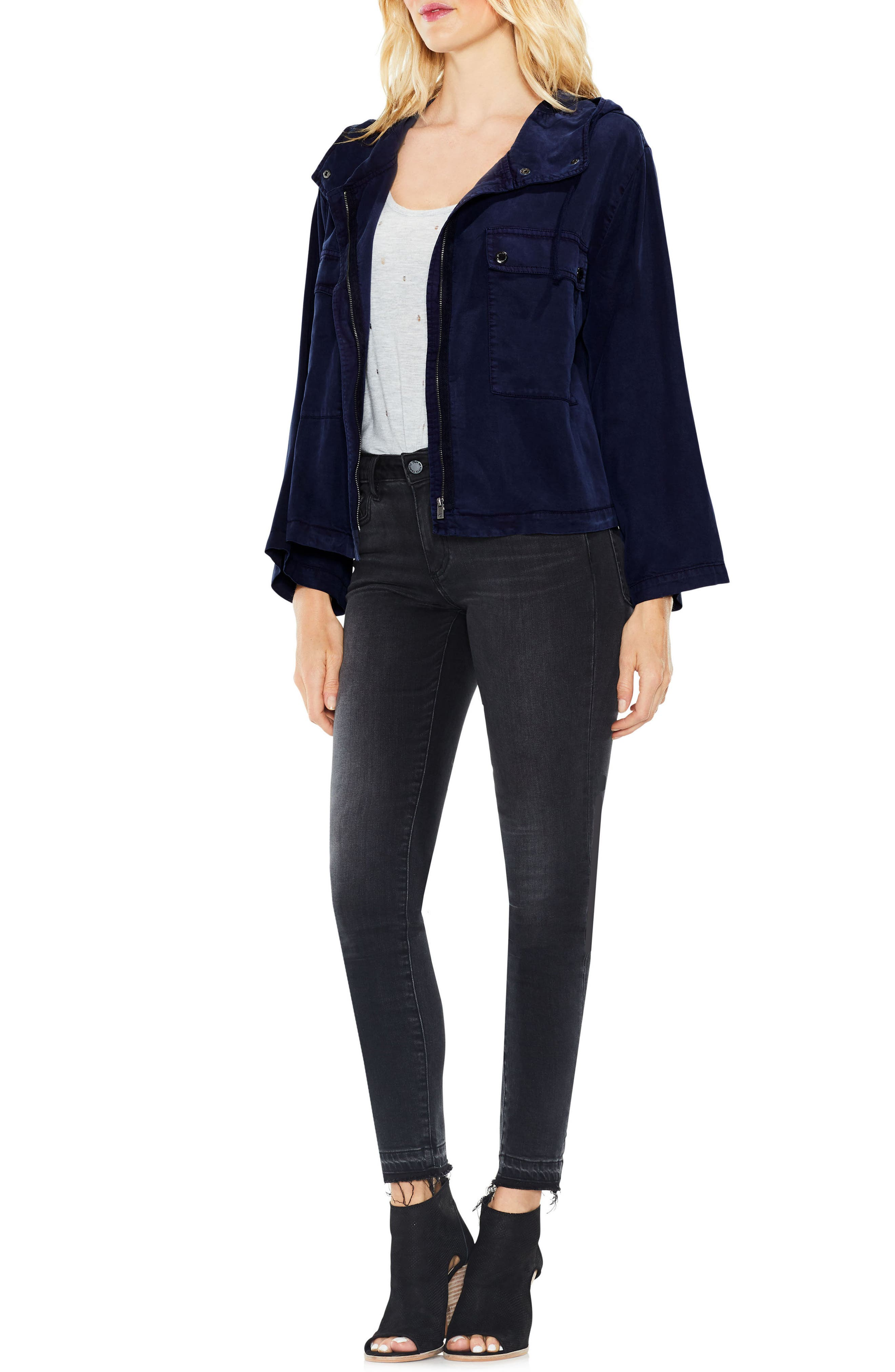 Alternate Image 4  - Two by Vince Camuto Bell Sleeve Hooded Jacket