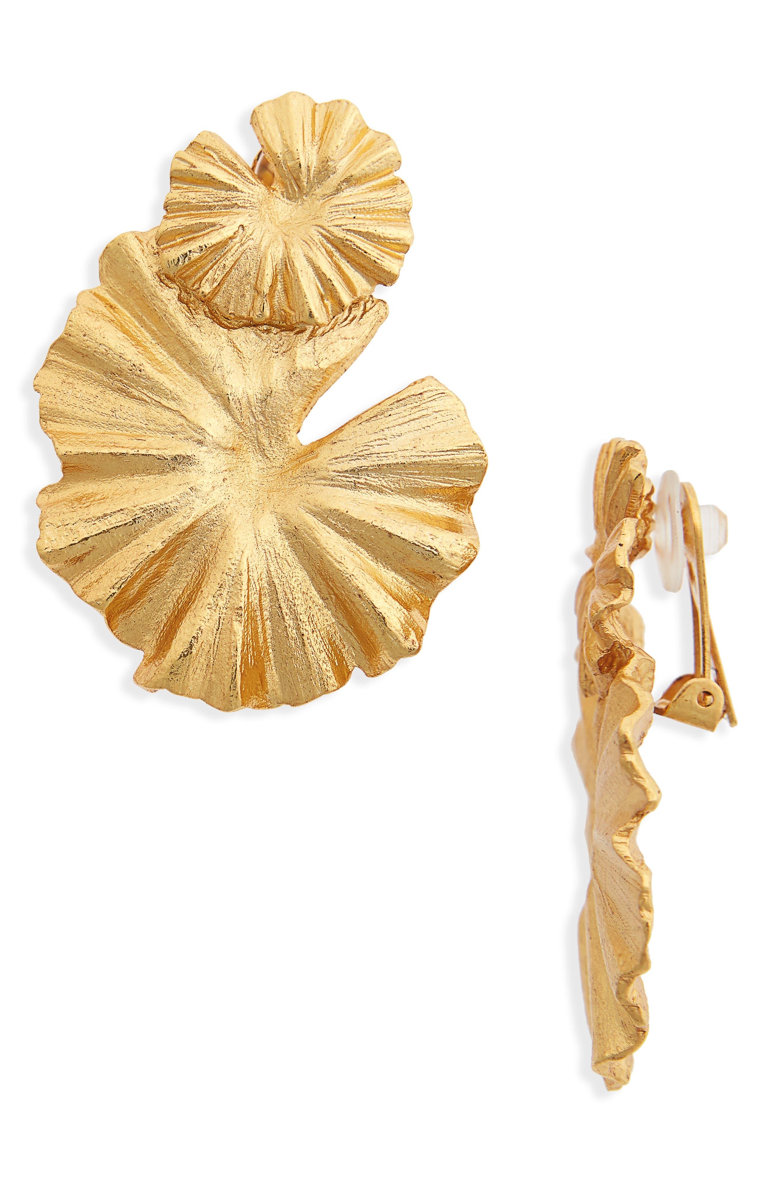 Oscar de la Renta Wildflower Clip Earrings