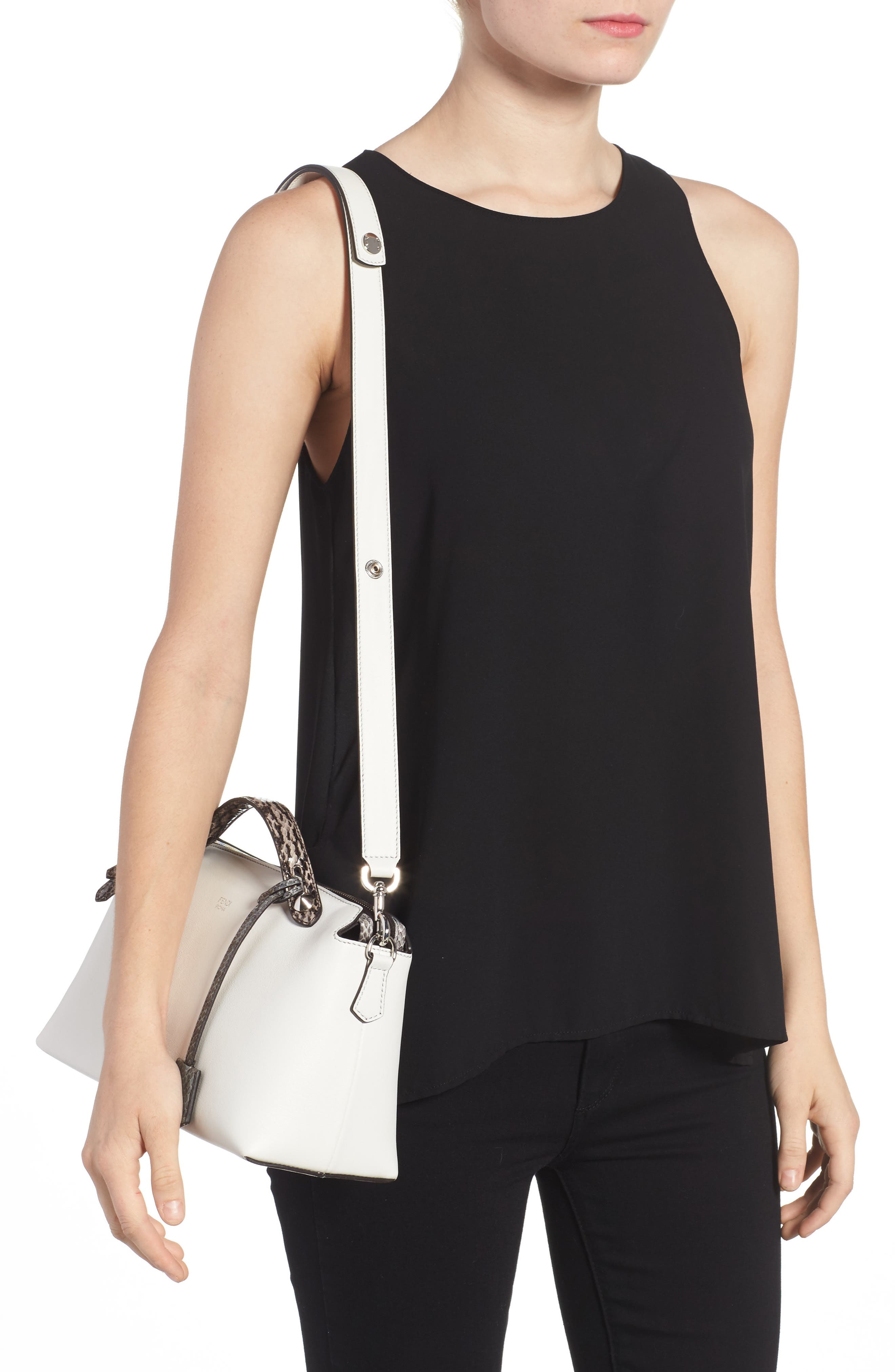'Medium By the Way' Calfskin Leather Shoulder Bag with Genuine Snakeskin Trim,                             Alternate thumbnail 2, color,                             Ice