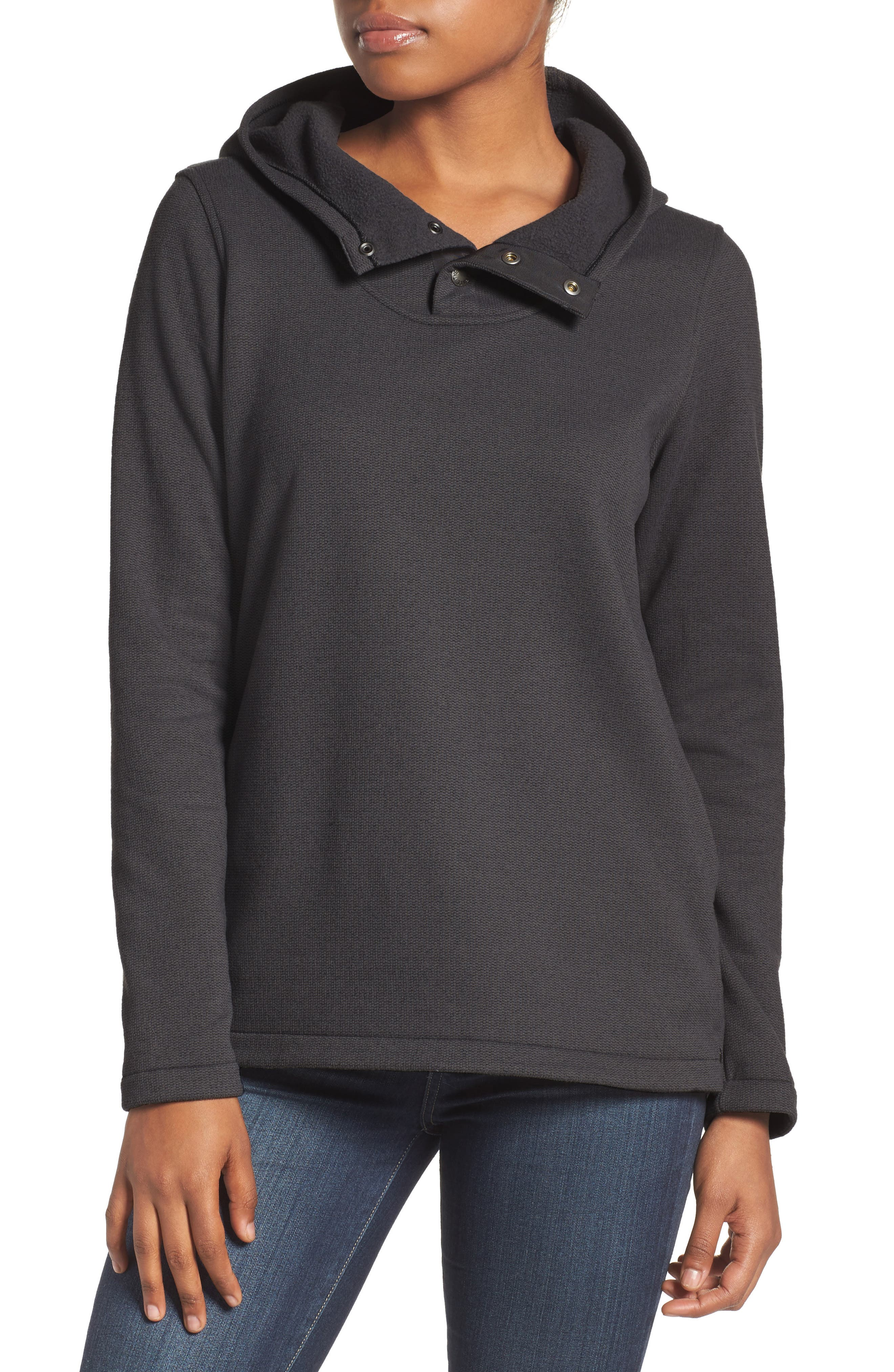 Knit Stitch Fleece Hoodie,                         Main,                         color, Tnf Black