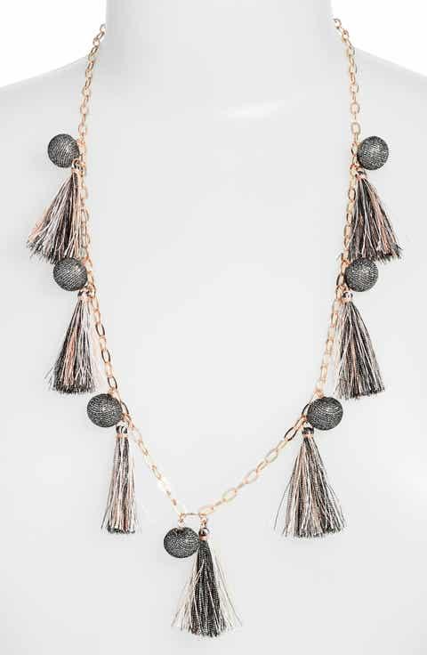 Womens chandelier necklaces nordstrom rebecca minkoff metallic pom tassel necklace aloadofball Gallery