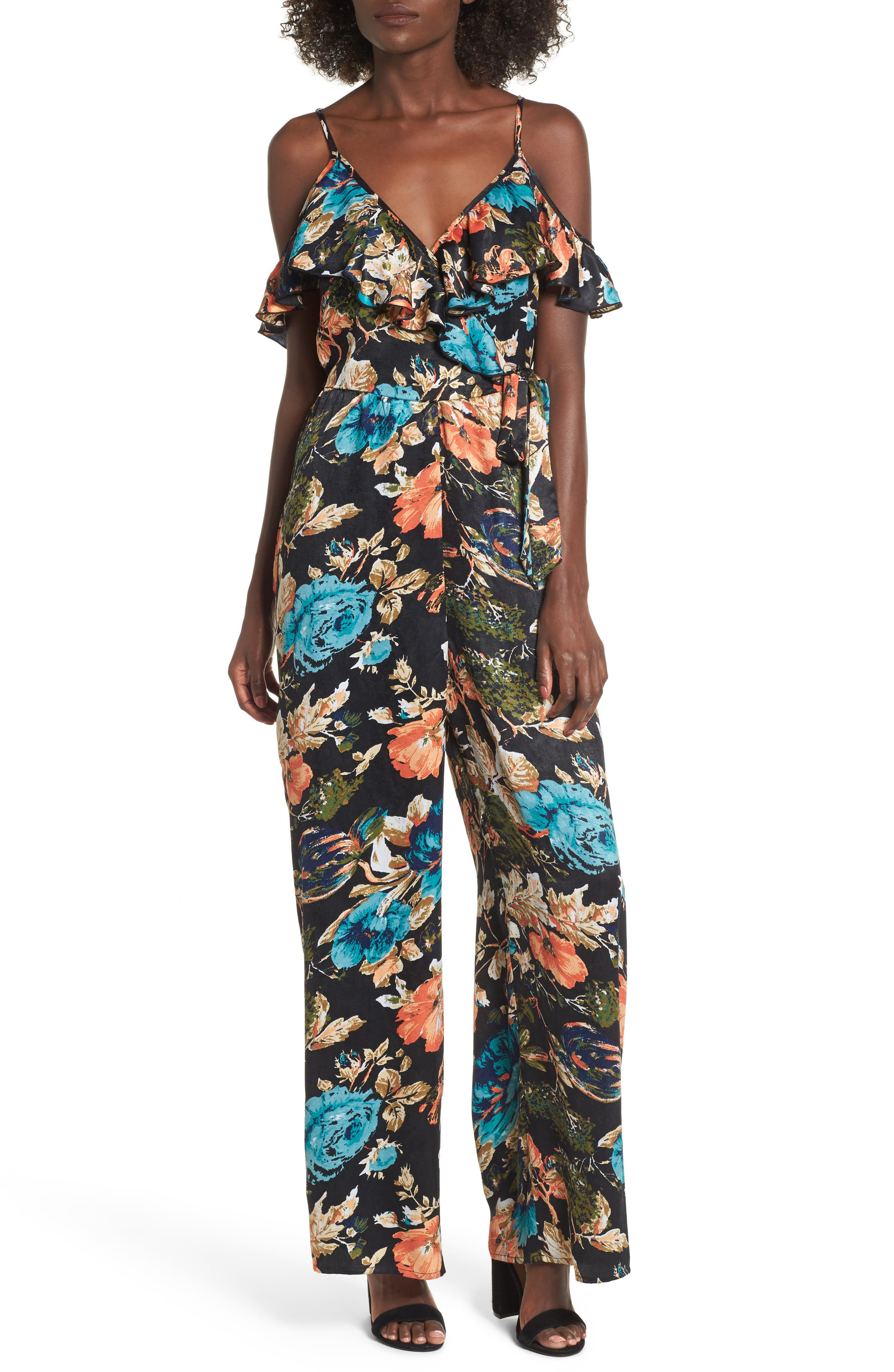 Peony Print Jumpsuit,                             Main thumbnail 1, color,                             Black/ Orange