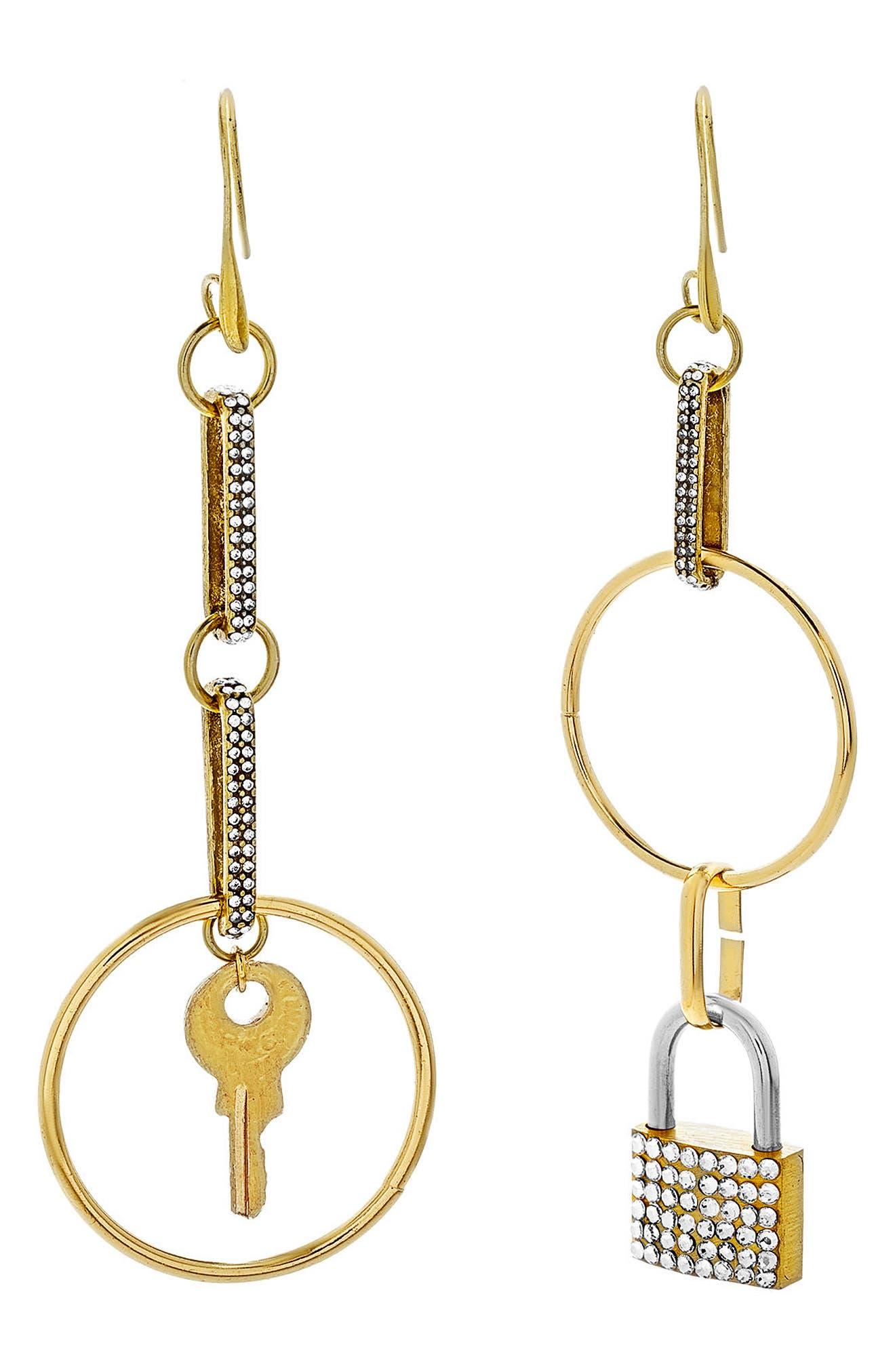 Steve Madden Key & Lock Statement Earrings
