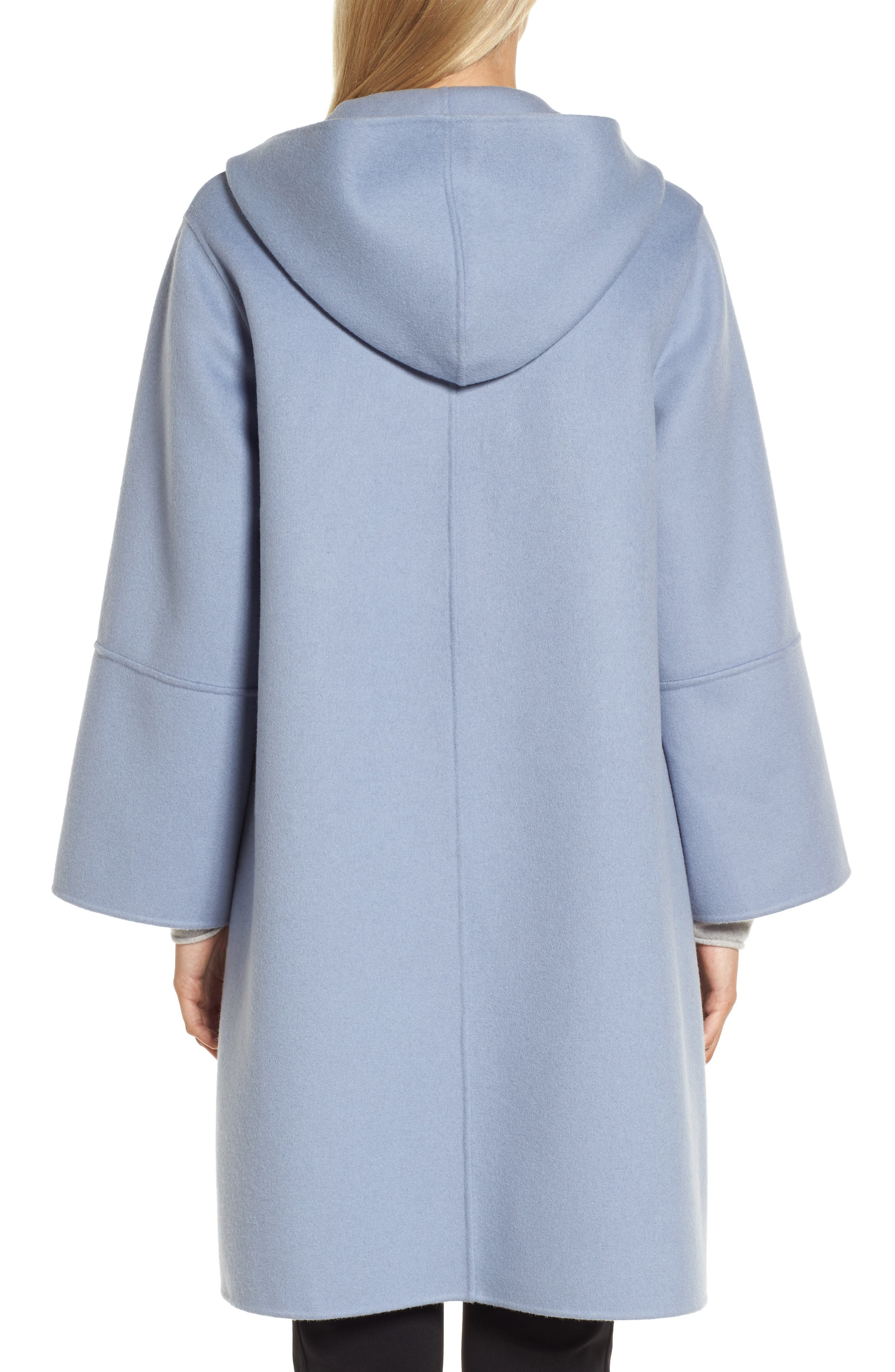 Hooded Wool & Cashmere Coat,                             Alternate thumbnail 2, color,                             Blue Tempest