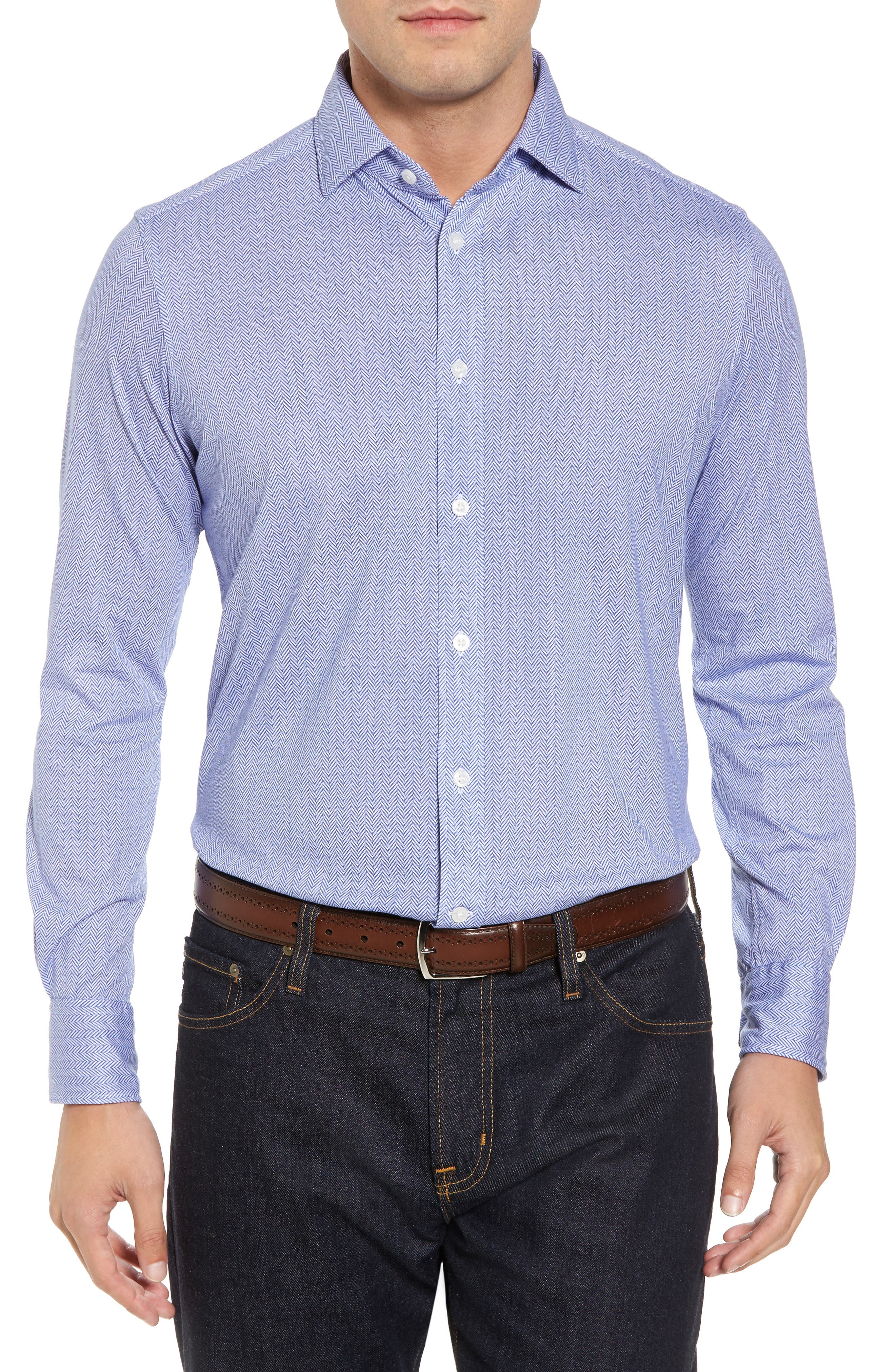 Main Image - Thomas Dean Herringbone Knit Sport Shirt