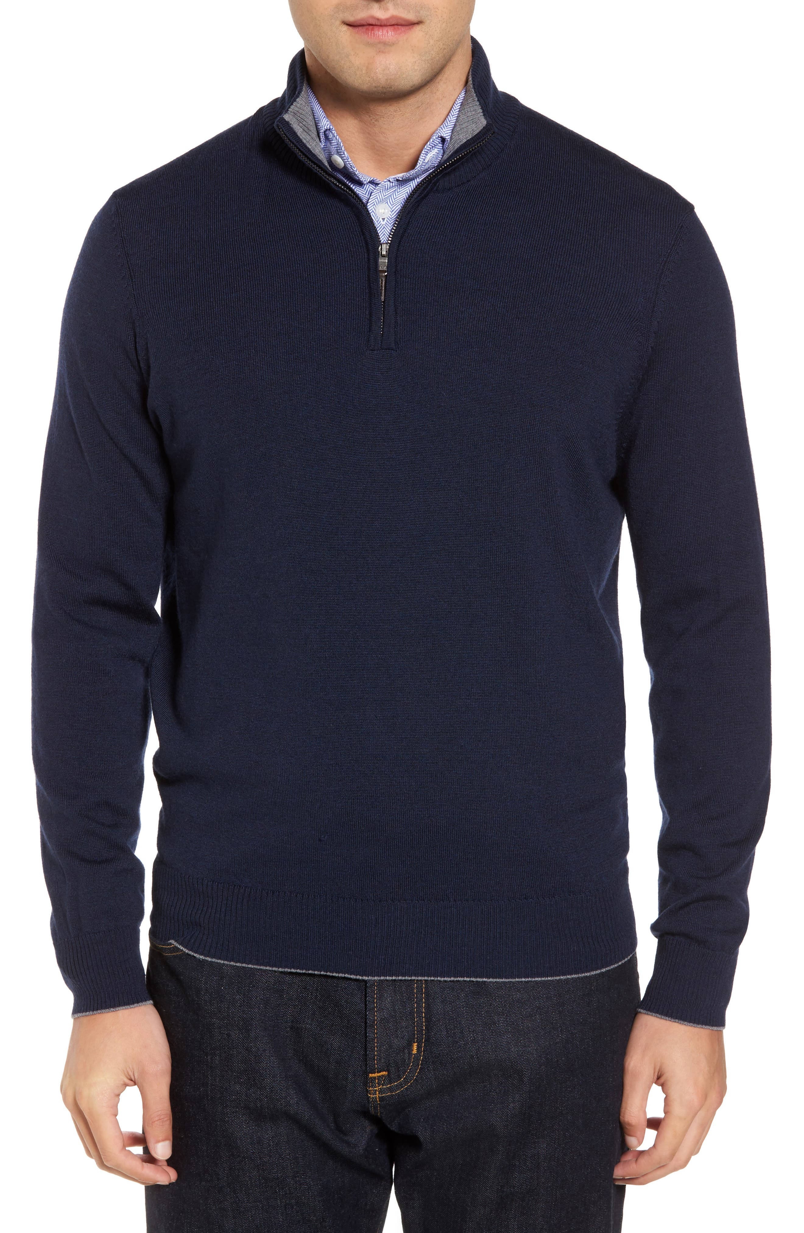 Thomas Dean Merino Wool Blend Quarter Zip Sweater