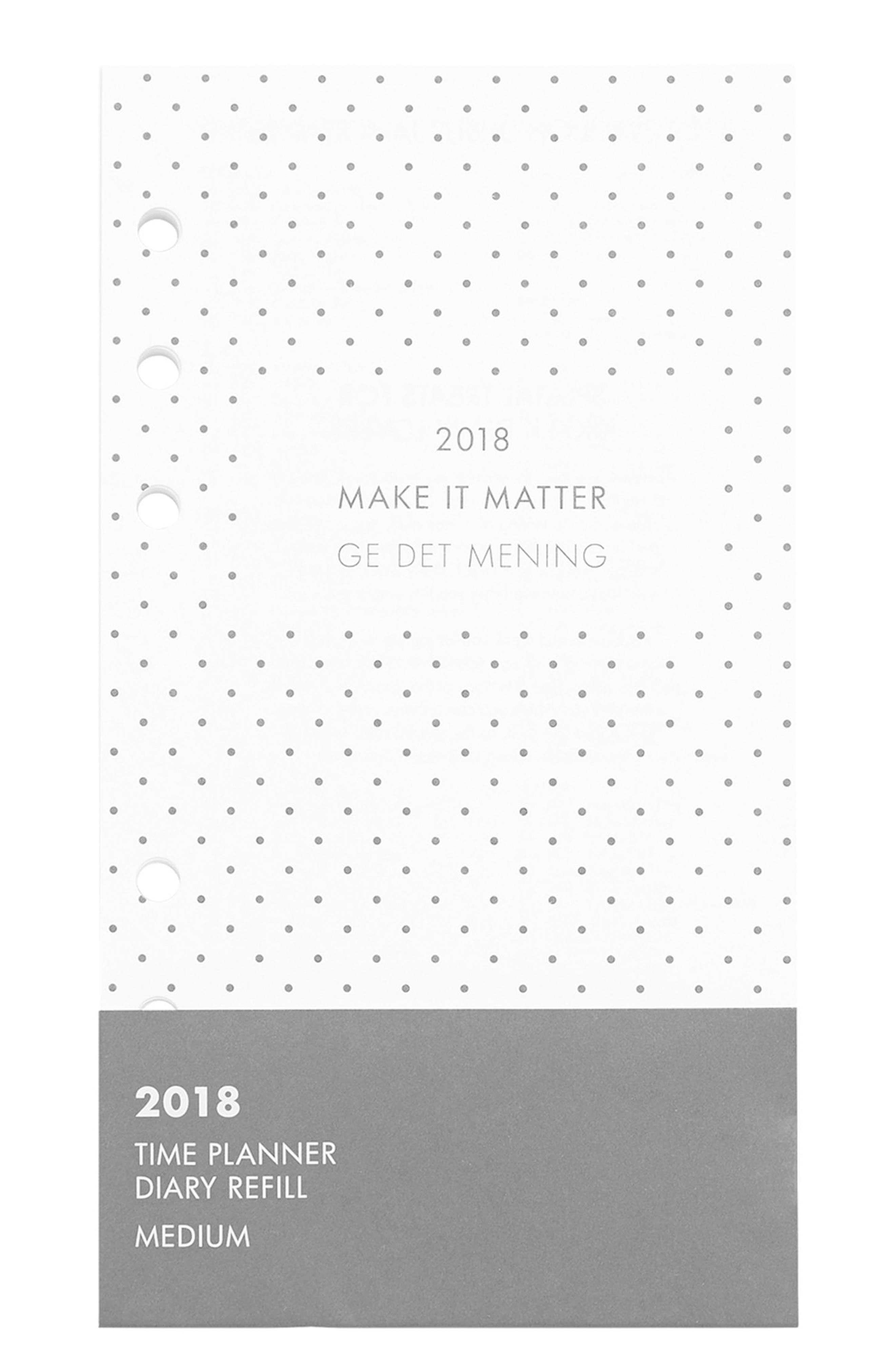 2018 Medium Planner Refill Pack,                         Main,                         color, White