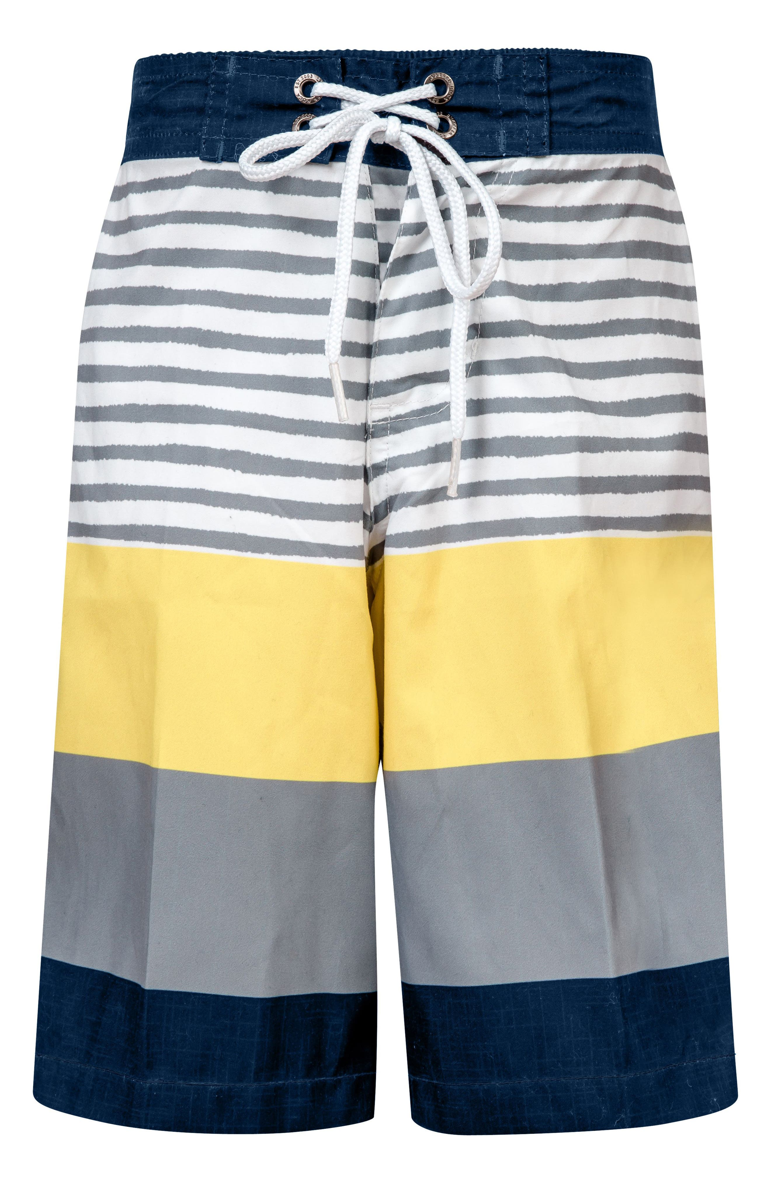 Stripe Board Shorts,                             Main thumbnail 1, color,                             Navy/ Yellow/ White