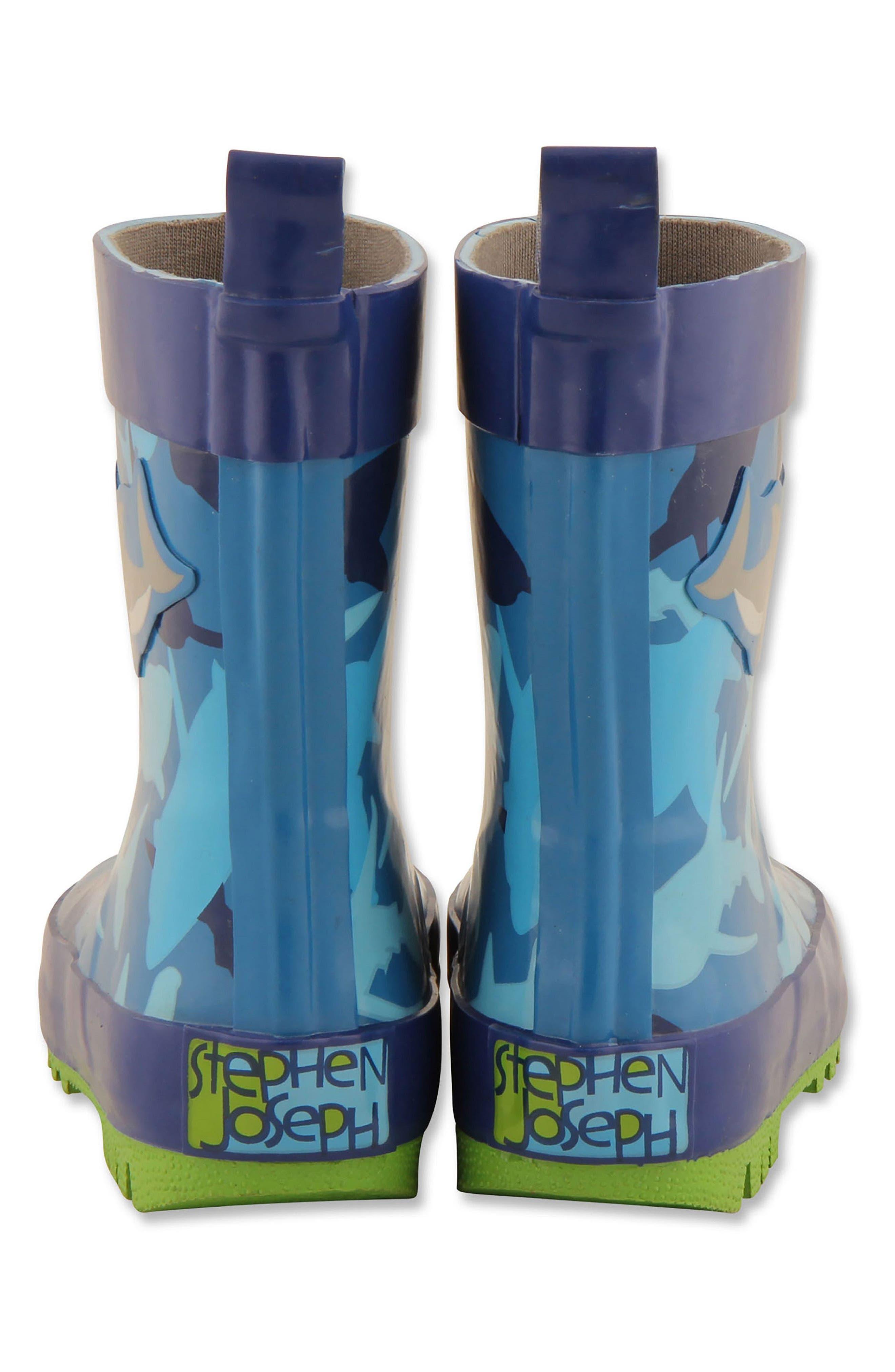 Shark Rain Boots & Umbrella Set,                             Alternate thumbnail 4, color,                             Shark