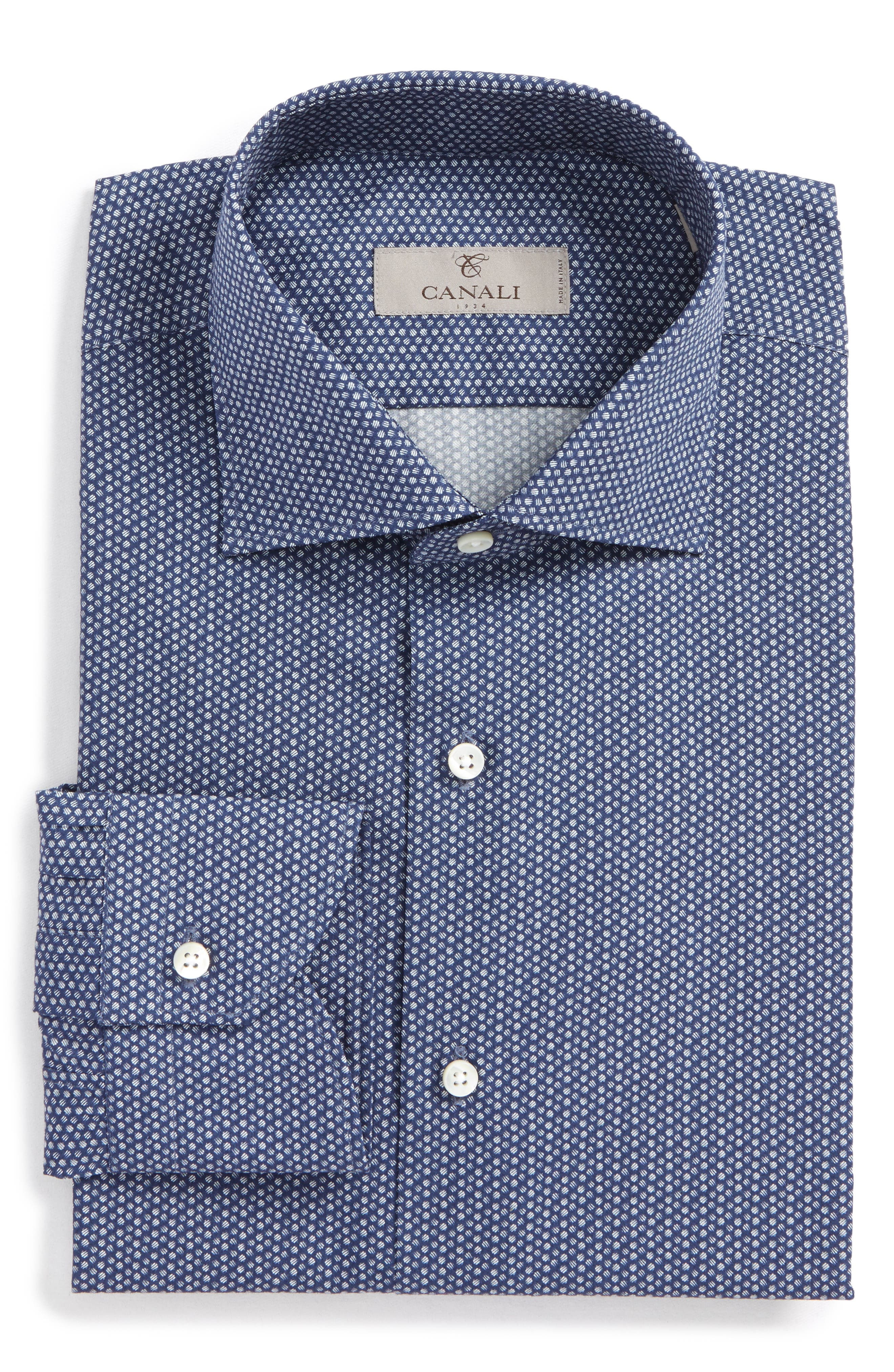 Main Image - Canali Regular Fit Dot Dress Shirt